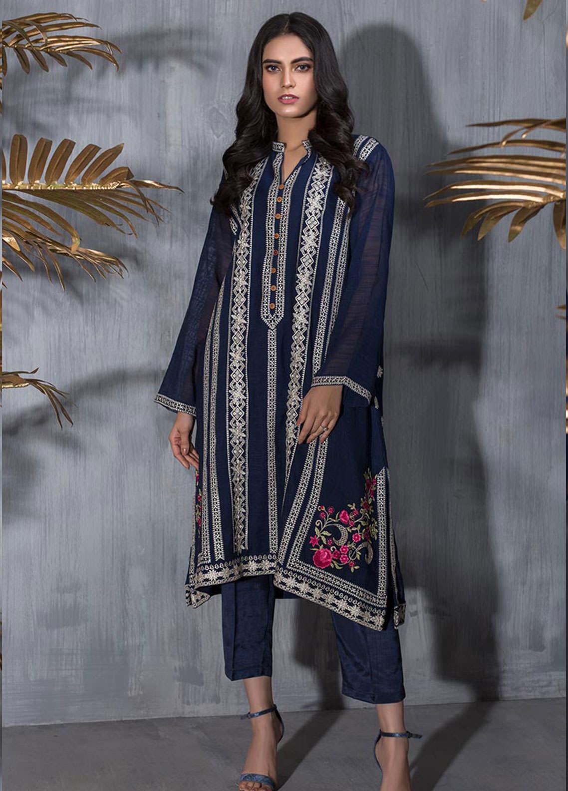 Dhanak Embroidered Khaadi Net Stitched Kurti DA-1232 BLUE