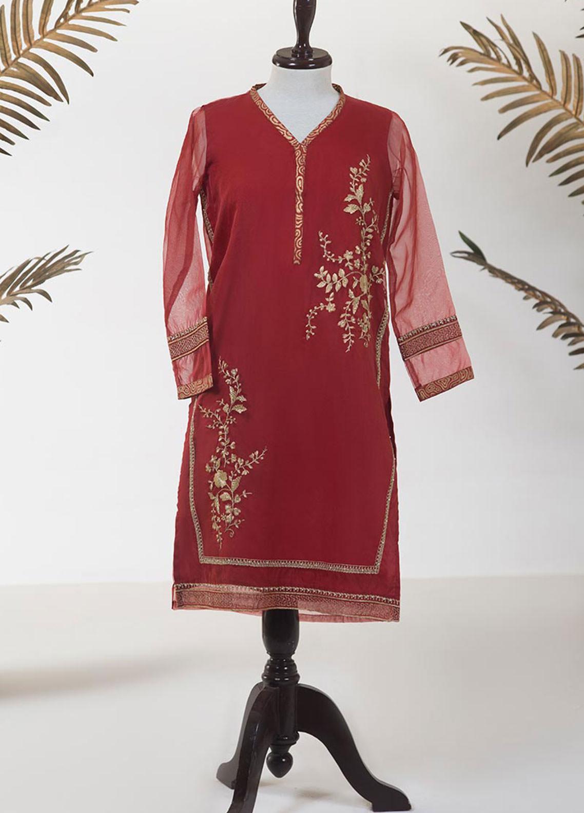 Dhanak Embroidered Tissue Stitched Kurti DA-1246 RED