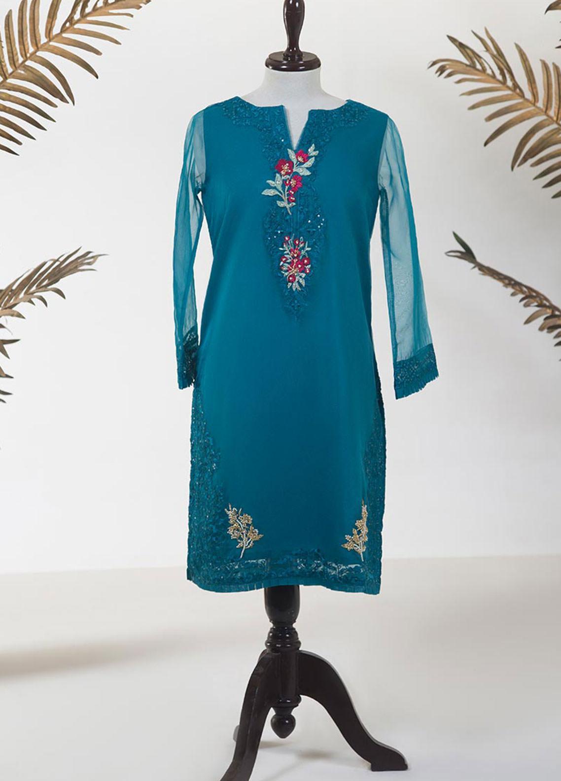Dhanak Embroidered Tissue Stitched Kurti DA-1250 SEA GREEN