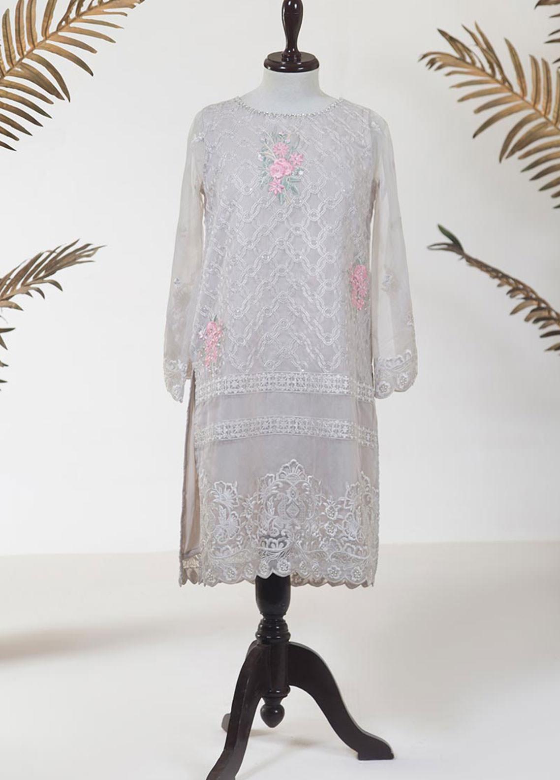 Dhanak Embroidered Tissue Stitched Kurti DA-1282 LIGHT GREY