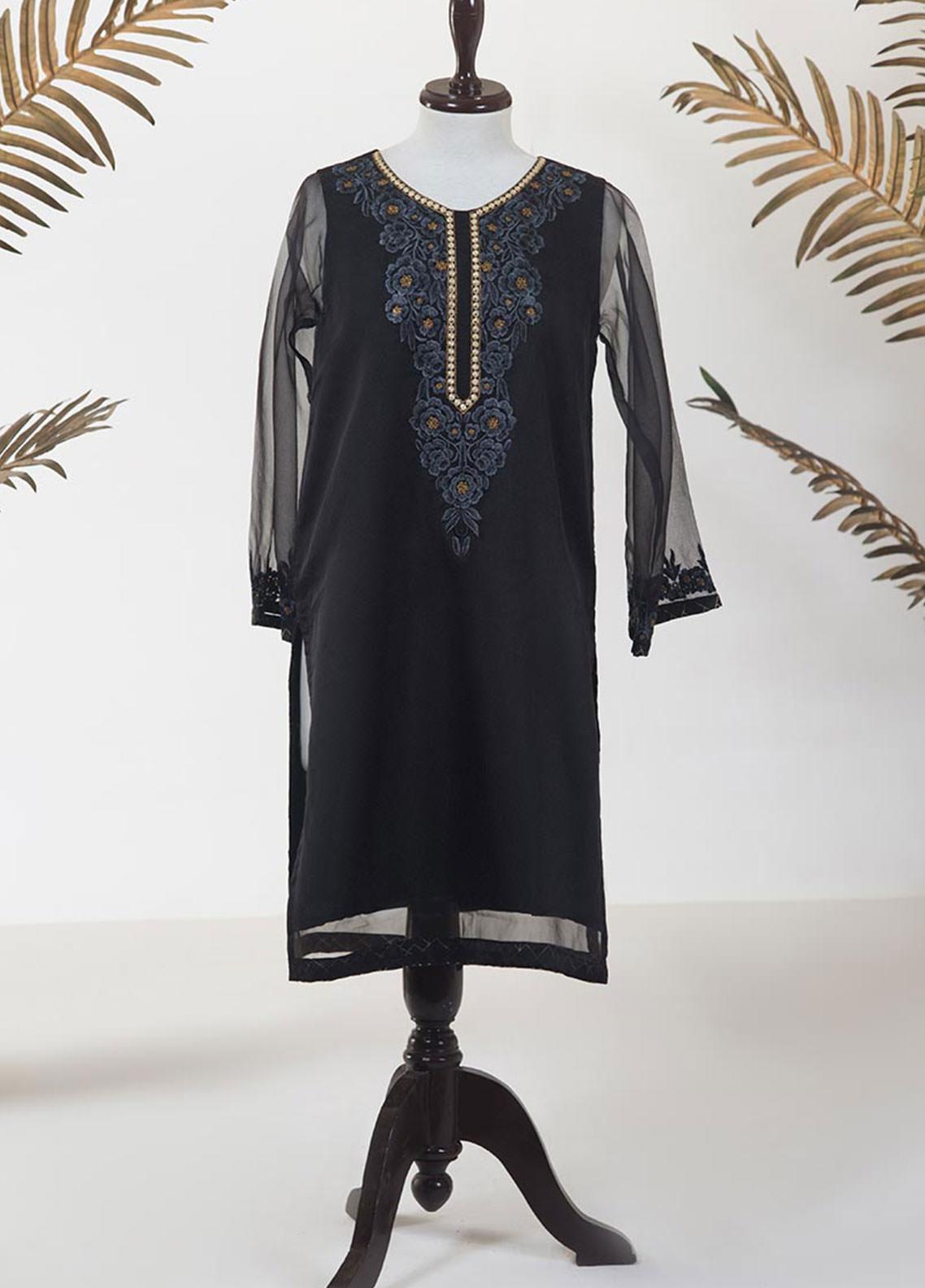 Dhanak Embroidered Organza Stitched Kurti DA-1287 BLACK