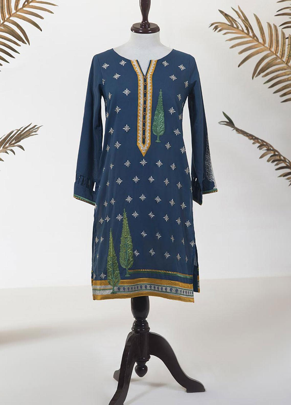 Dhanak Embroidered Jacquard Stitched Kurti DC-0239 BLUE