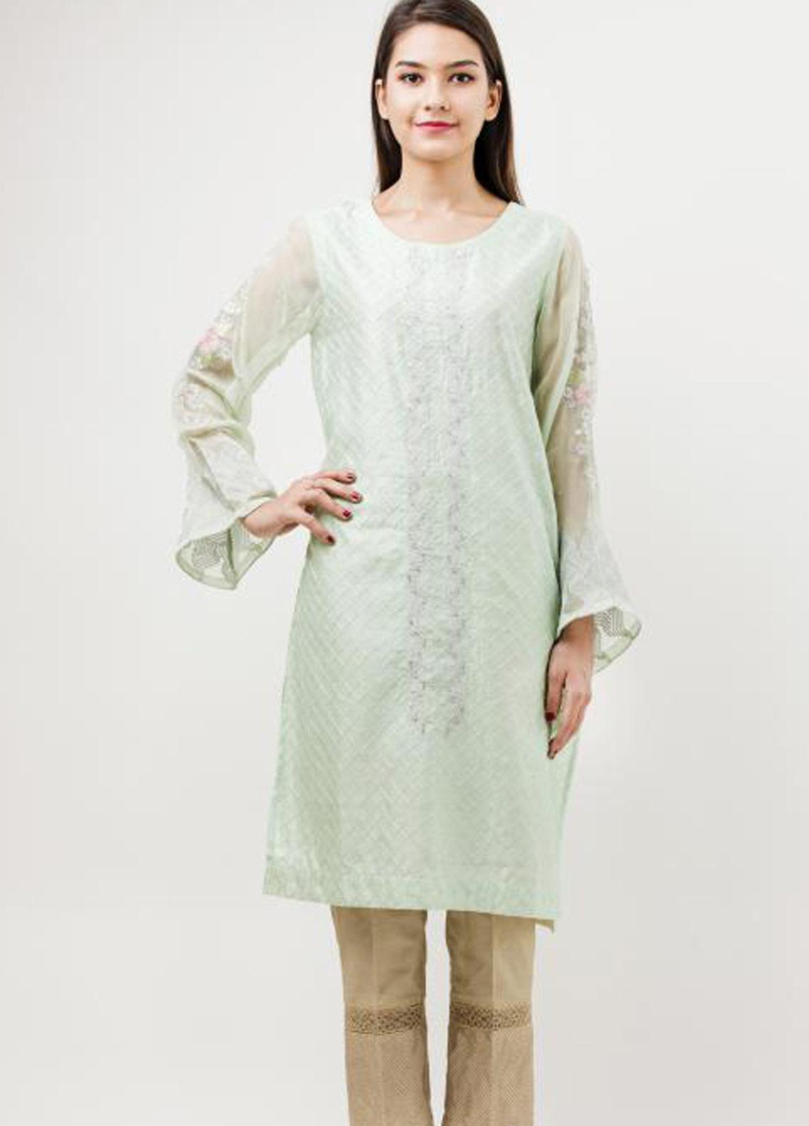 Dhanak Embroidered Cotton Net Stitched Kurtis Light Green DA-0655