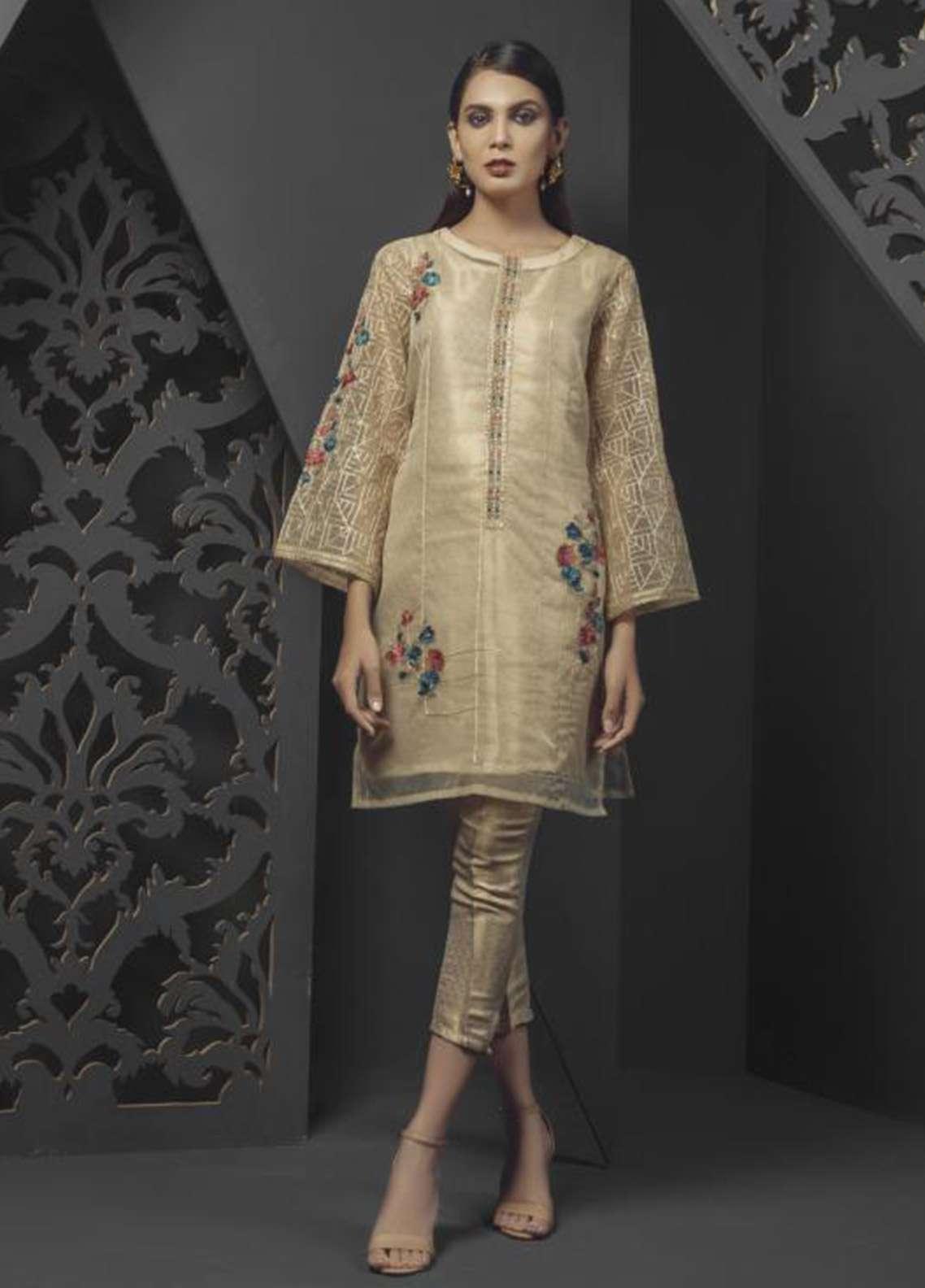 Dhanak Embroidered  Stitched Kurtis DA-0696 Beige