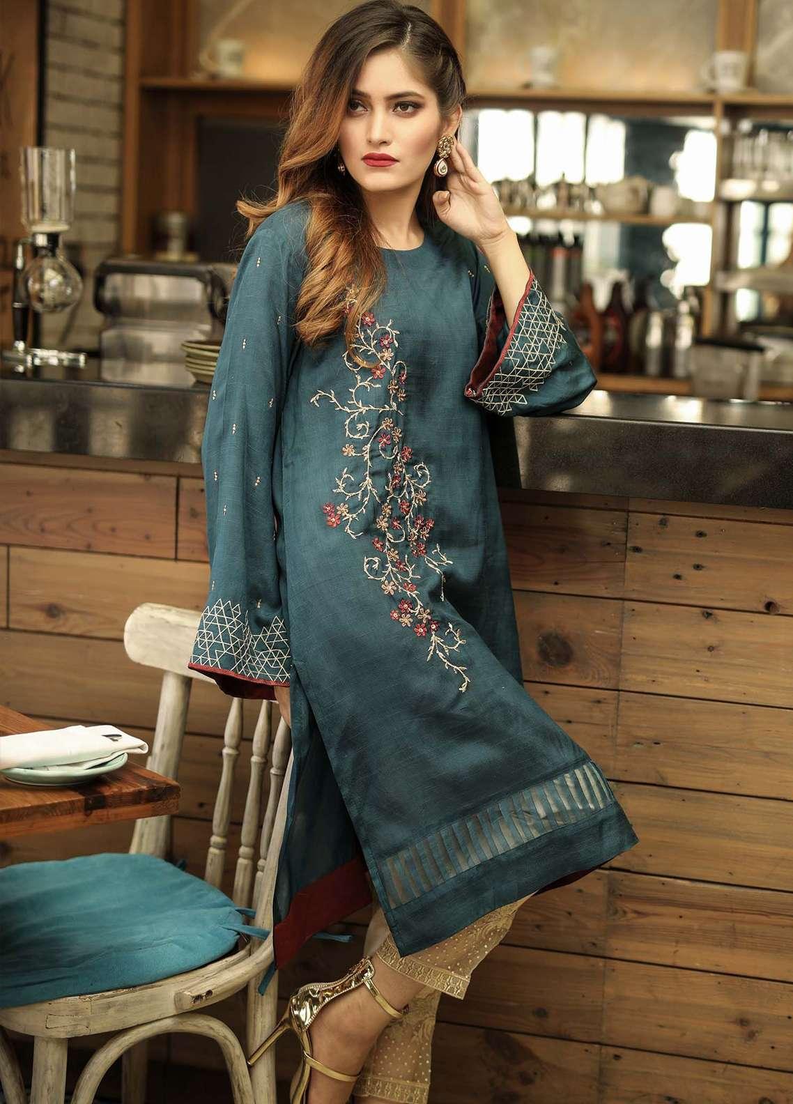 8f67241057 Dhanak Embroidered Pret Kurti Collection 2018 - Dhanak: Readymade ...