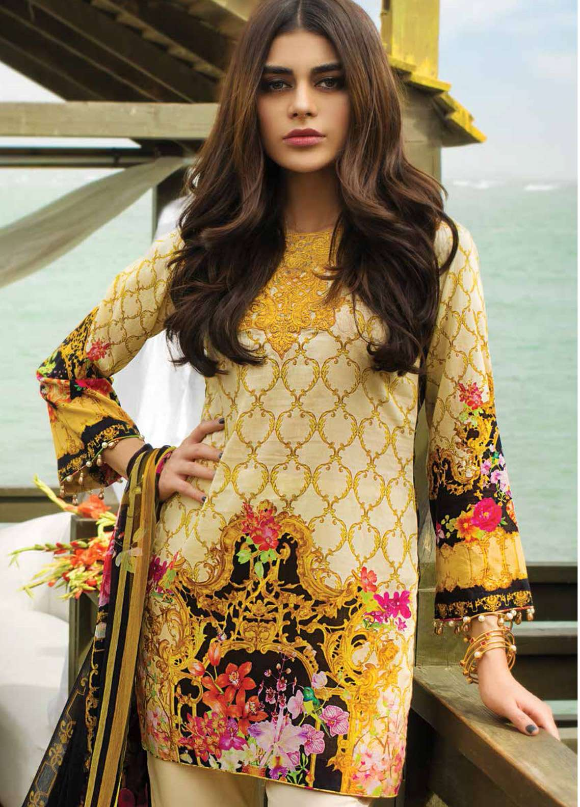Doric By Reemal Khan Embroidered Lawn Unstitched 3 Piece Suit DO18L 05 - Luxury Lawn Collection
