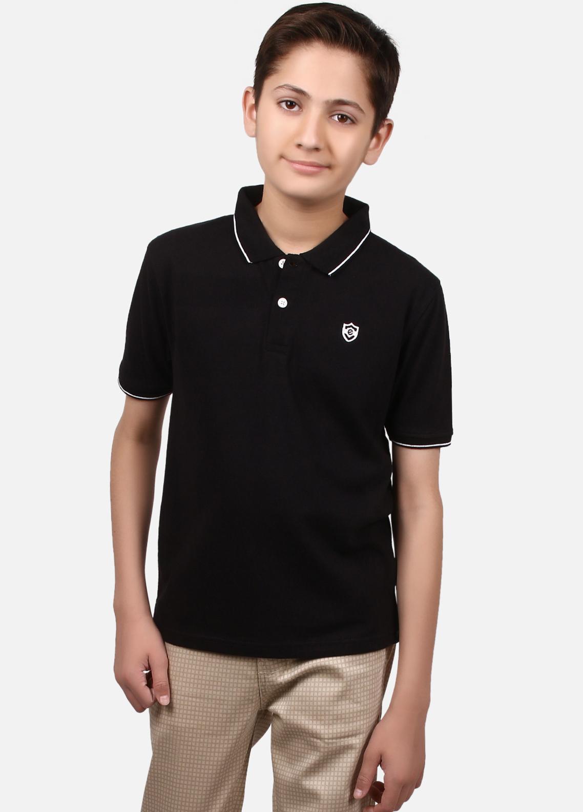 Edenrobe Cotton Polo Shirts for Boys - Black EBTPS19-008