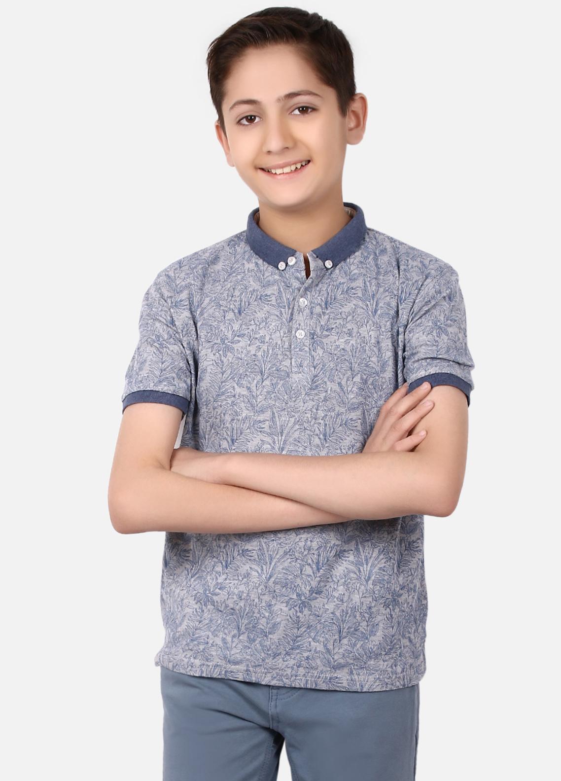 Edenrobe Cotton Polo Shirts for Boys - Blue EBTPS19-012