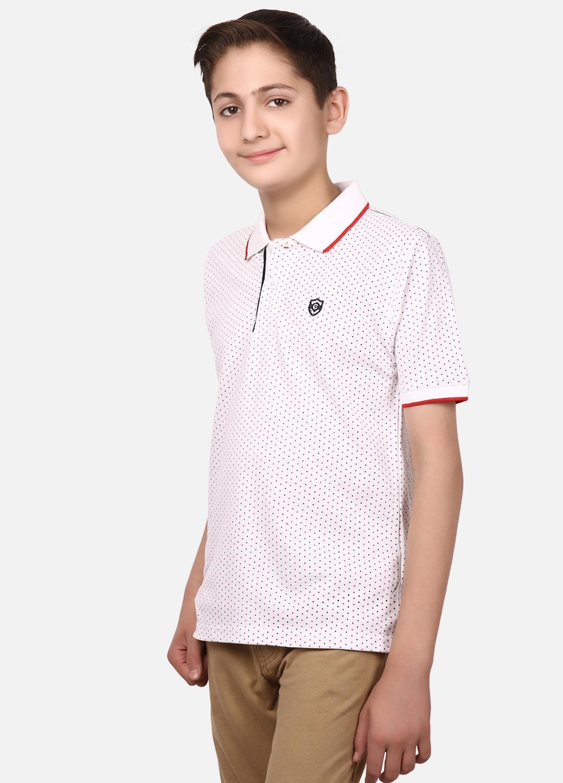 Edenrobe Cotton Polo Boys Shirts - White EBTPS19-013