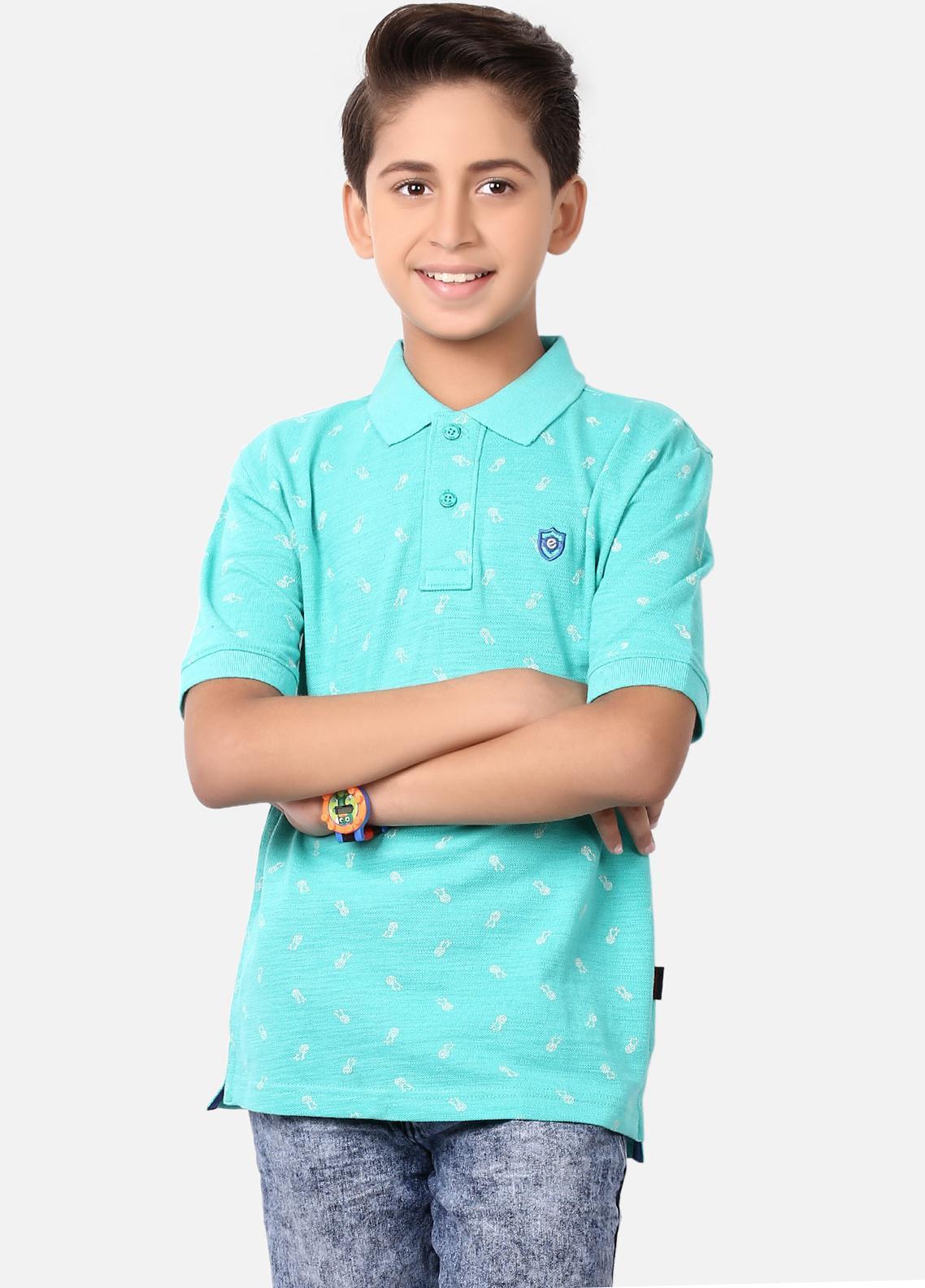 Edenrobe Cotton Polo Shirts for Boys - Sea Green EBTPS19-016