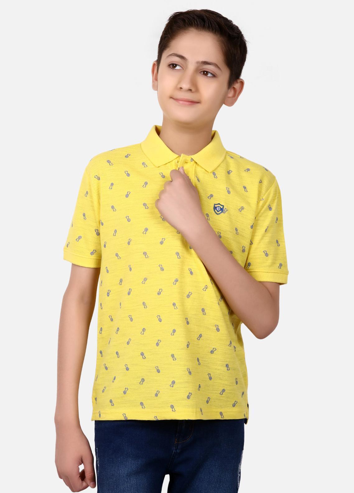 Edenrobe Cotton Polo Boys Shirts - Yellow EBTPS19-017