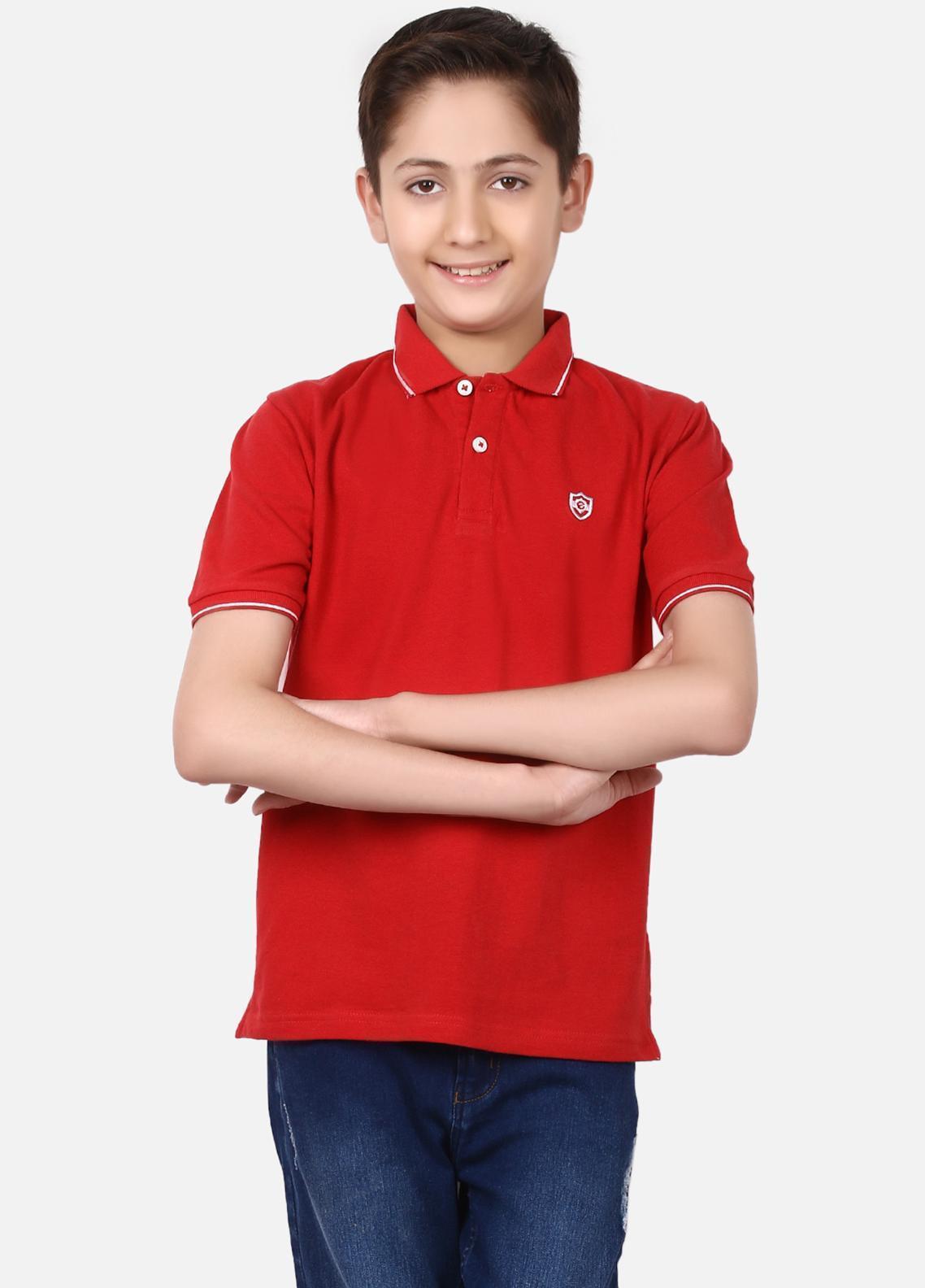 Edenrobe Cotton Polo Shirts for Boys - Red EBTPS19-020