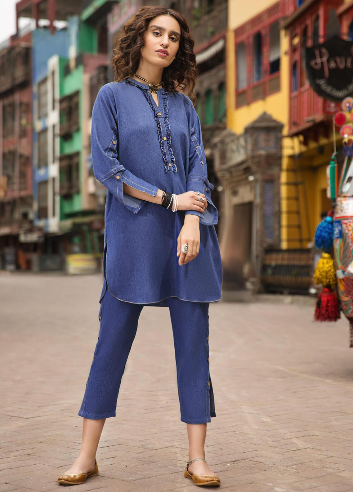 Edenrobe Embroidered Denim Stitched 2 Piece Suit 066871