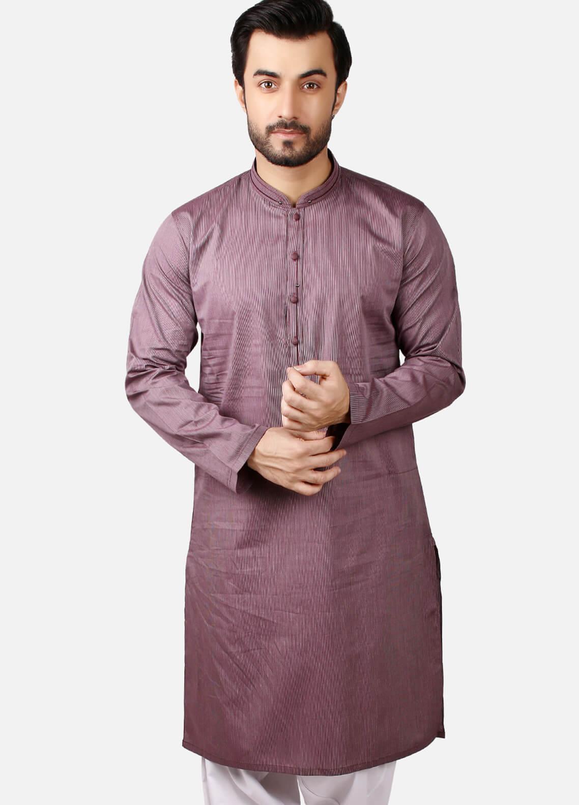 Edenrobe Cotton Formal Kurtas for Men - Purple EMTK18S-9665
