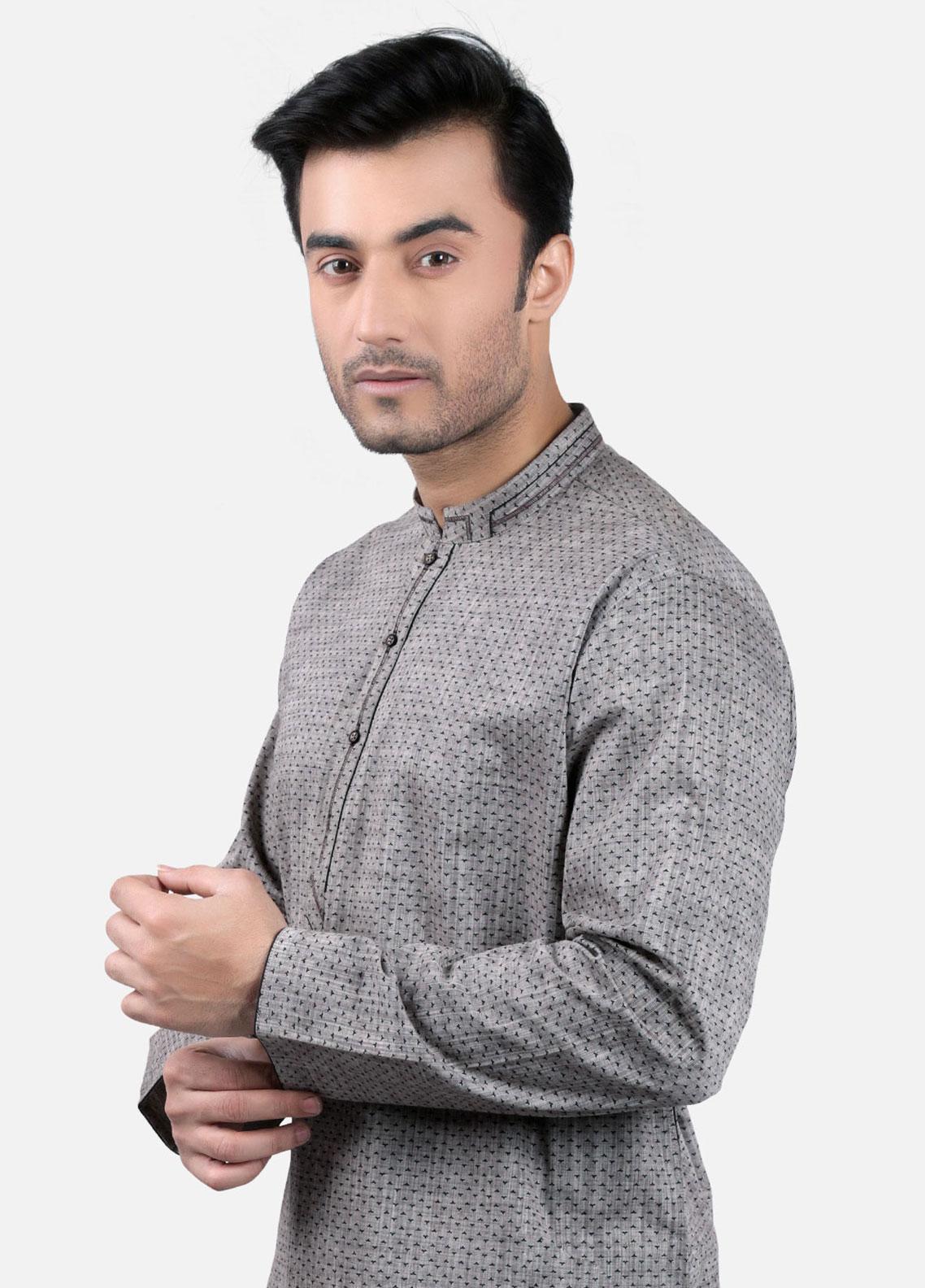 Edenrobe Cotton Formal Men Kurtas - Grey EMTK19S-9700