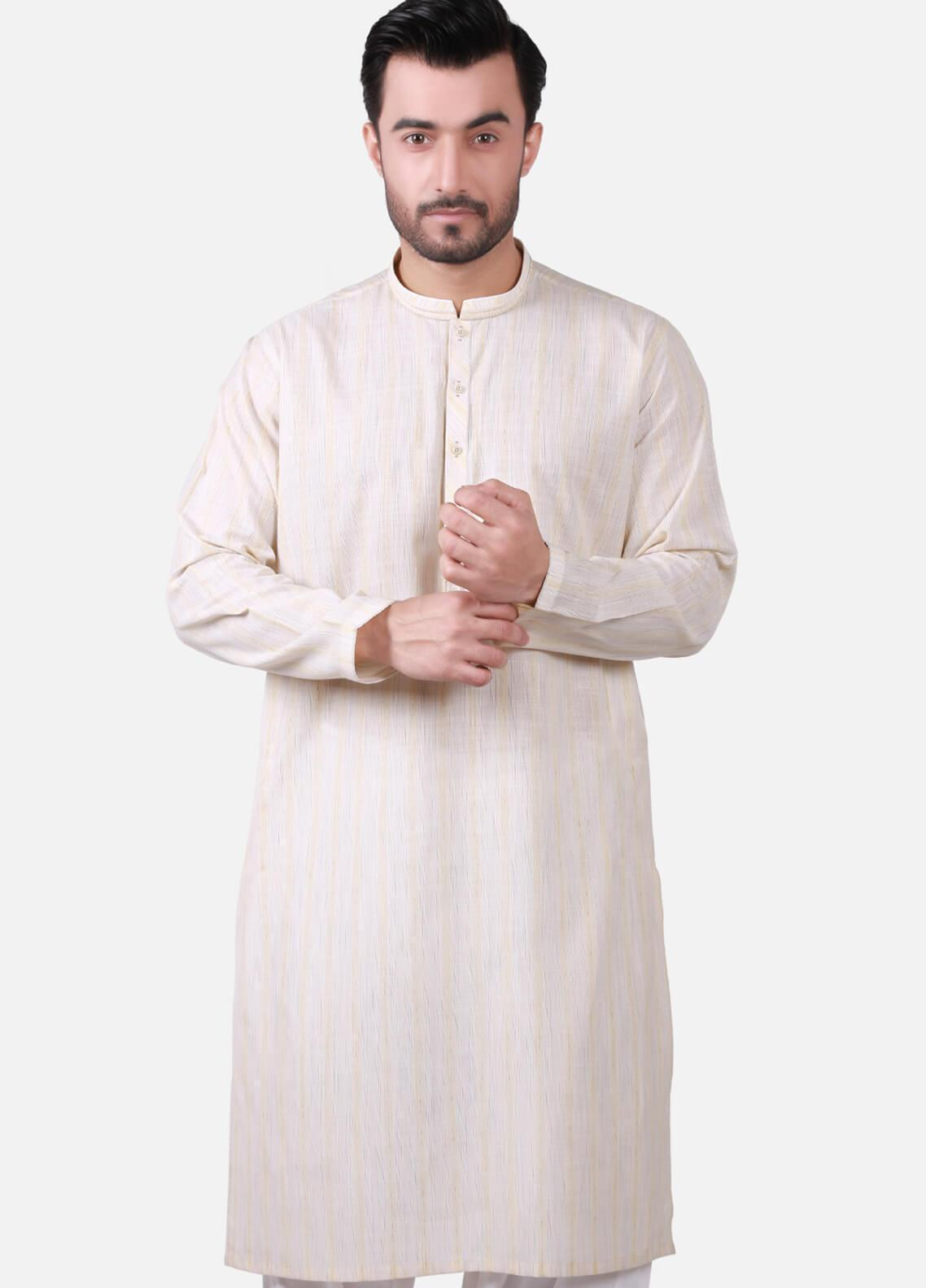 Edenrobe Cotton Formal Kurtas for Men - Beige EMTK19S-9757