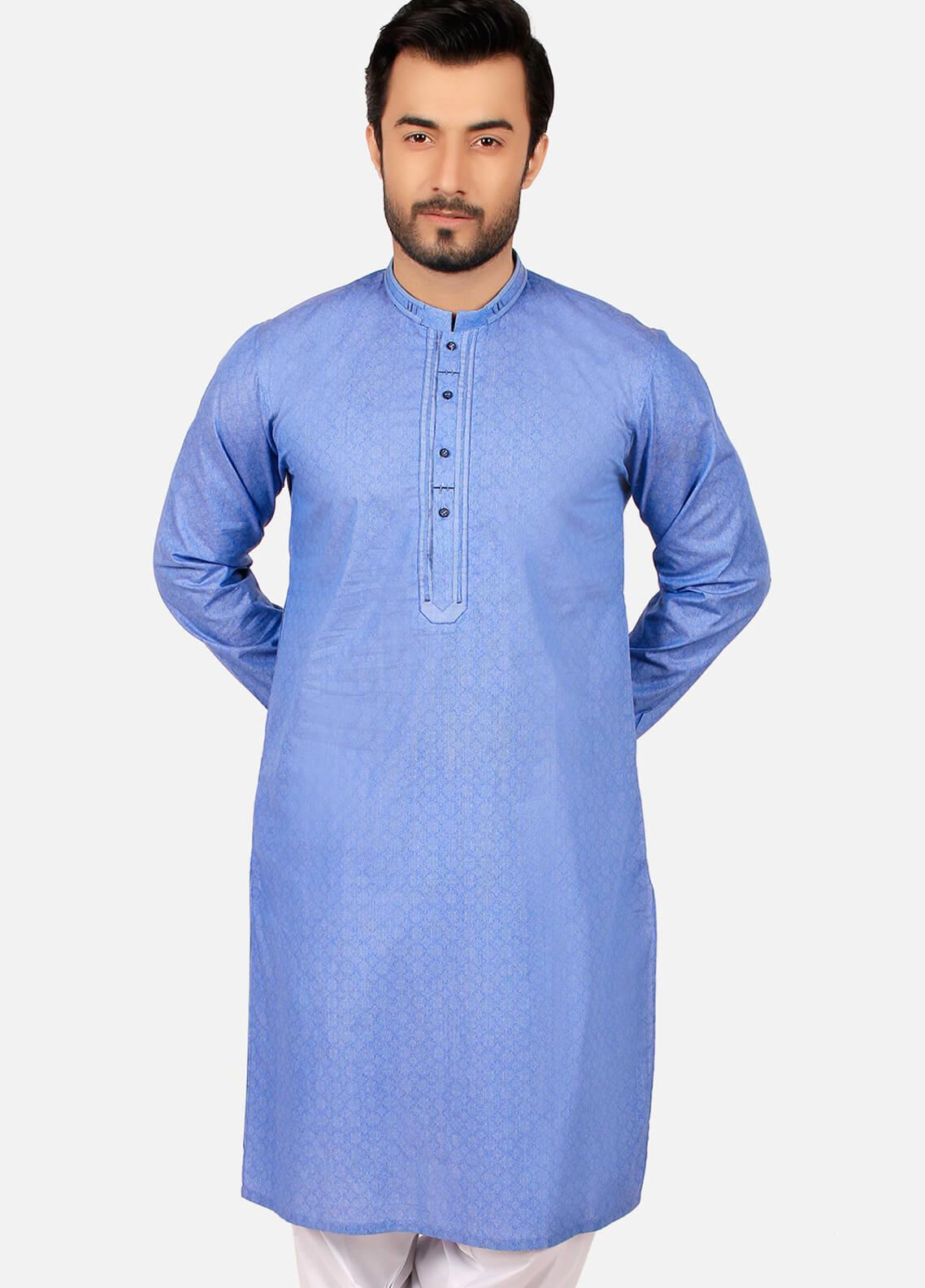 Edenrobe Cotton Formal Men Kurtas - Blue EMTK19S-9760