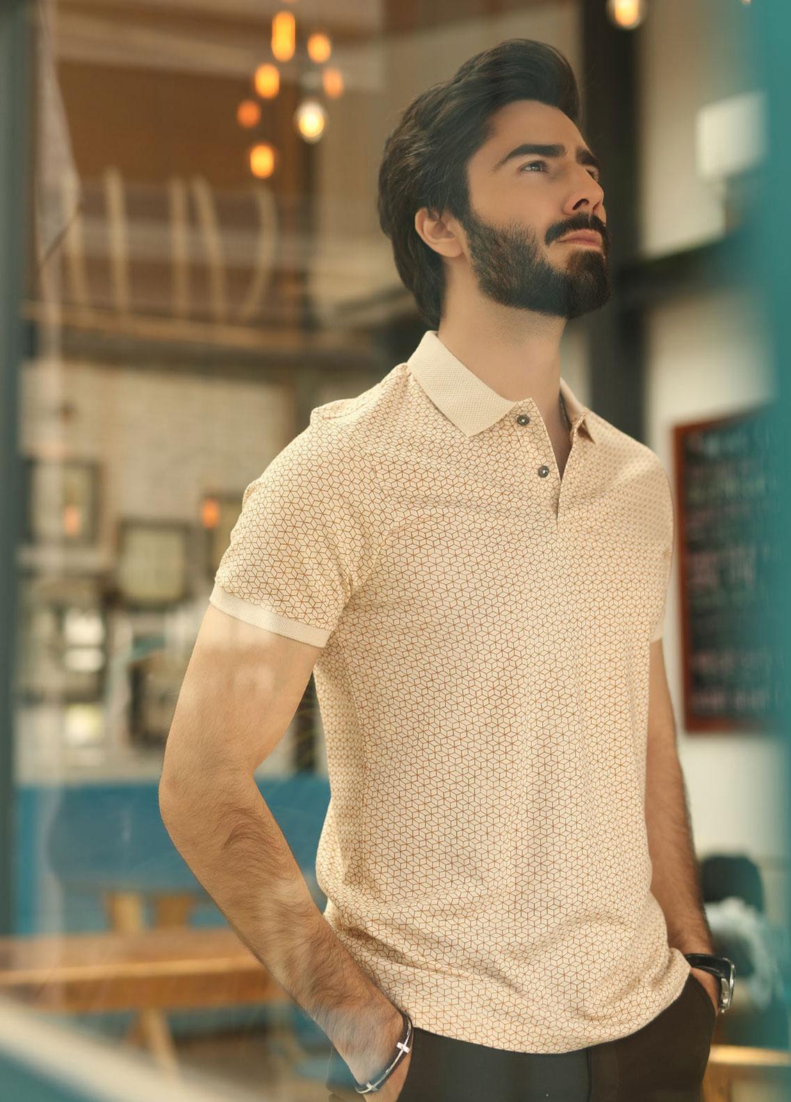 Edenrobe Cotton Polo Men Shirts - Beige EMTPS19-004