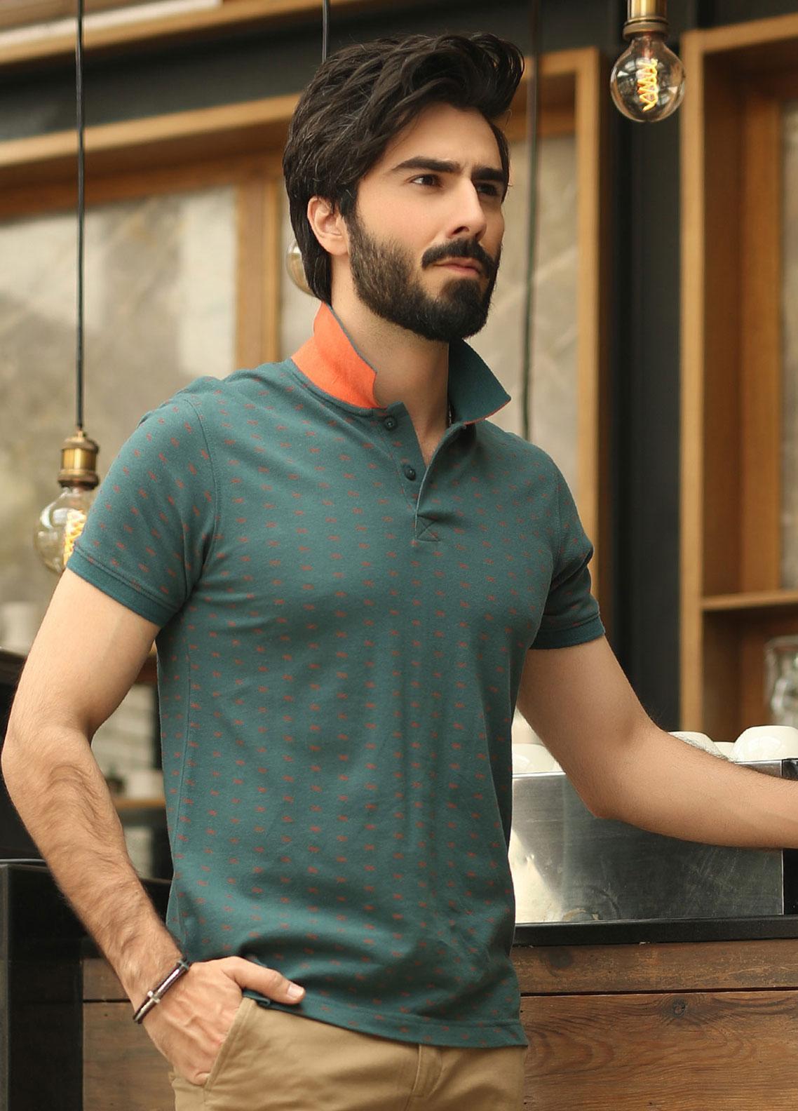 Edenrobe Cotton Polo Shirts for Men - Green EMTPS19-006