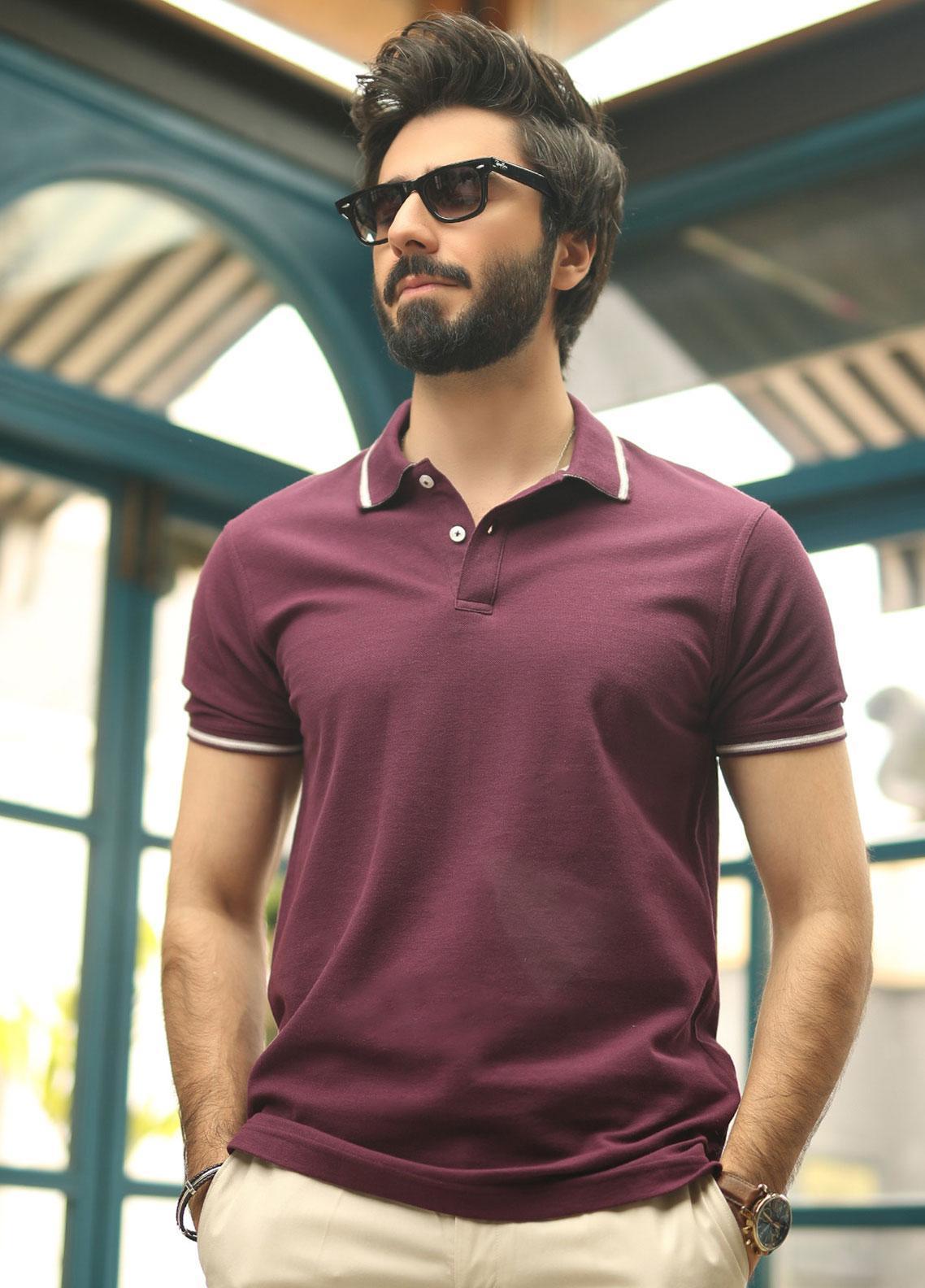 Edenrobe Cotton Polo Shirts for Men - Plum EMTPS19-021