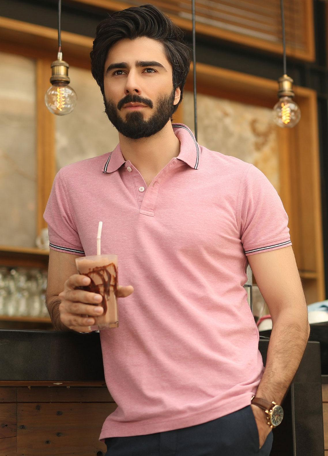 Edenrobe Cotton Polo Men Shirts - Pink EMTPS19-028