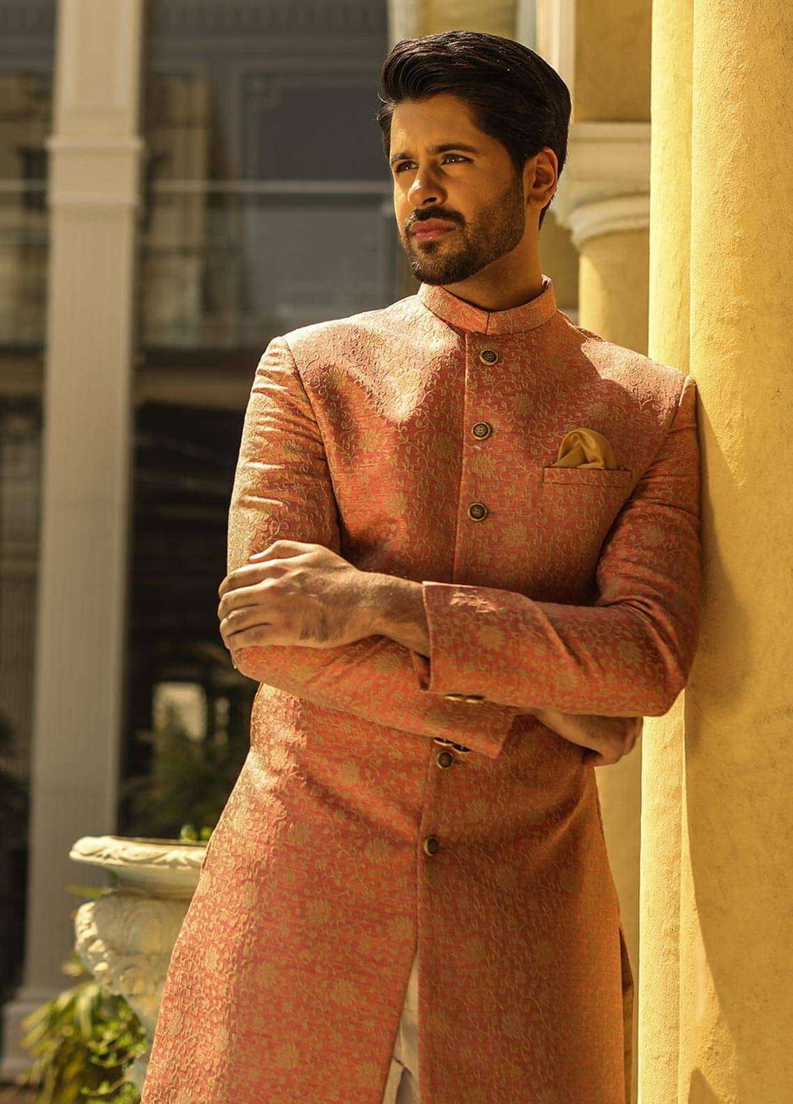 Edenrobe Cotton Wedding Men Sherwanis - Peach 007180