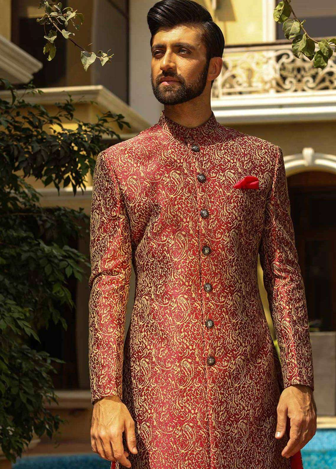 Edenrobe Cotton Wedding Men Sherwanis - Maroon 007183