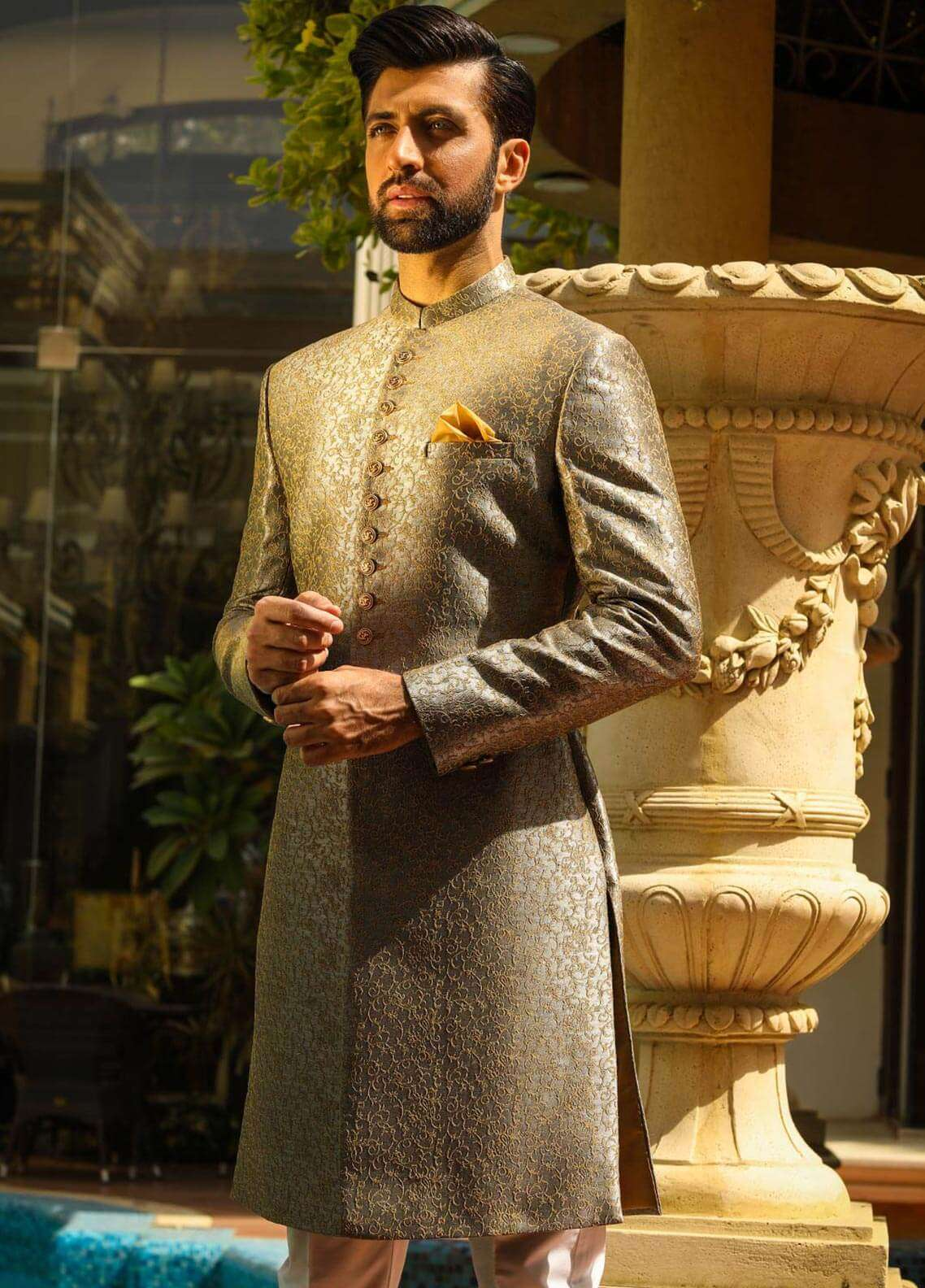 Edenrobe Cotton Wedding Sherwanis for Men - Golden EMTS18-7178