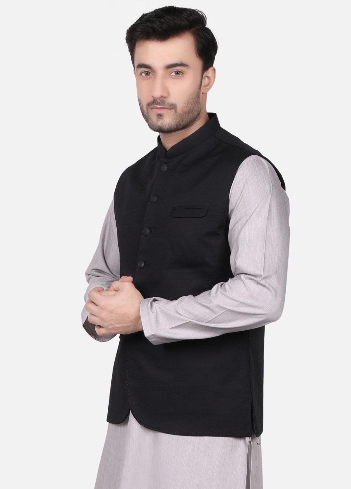 Edenrobe Jacquard Formal Men Waistcoats - Black EMTWC19-35667