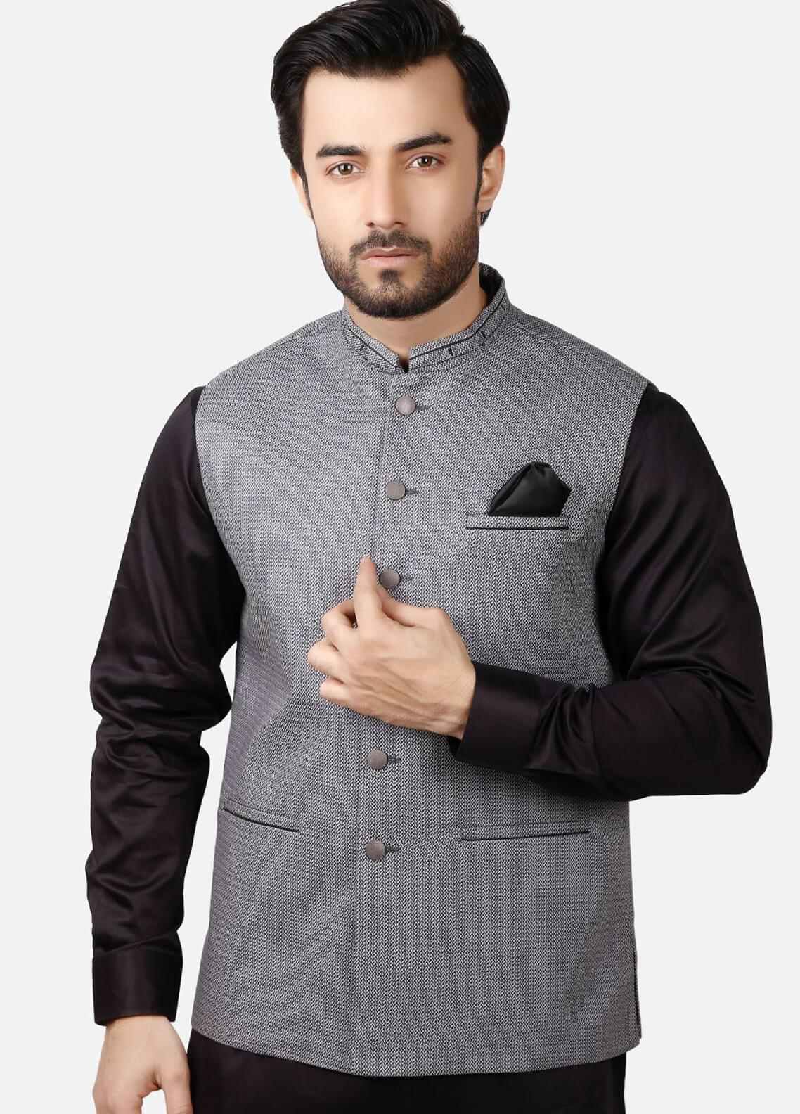 Edenrobe Jacquard Formal Waistcoats for Men - Grey EMTWC19-35675
