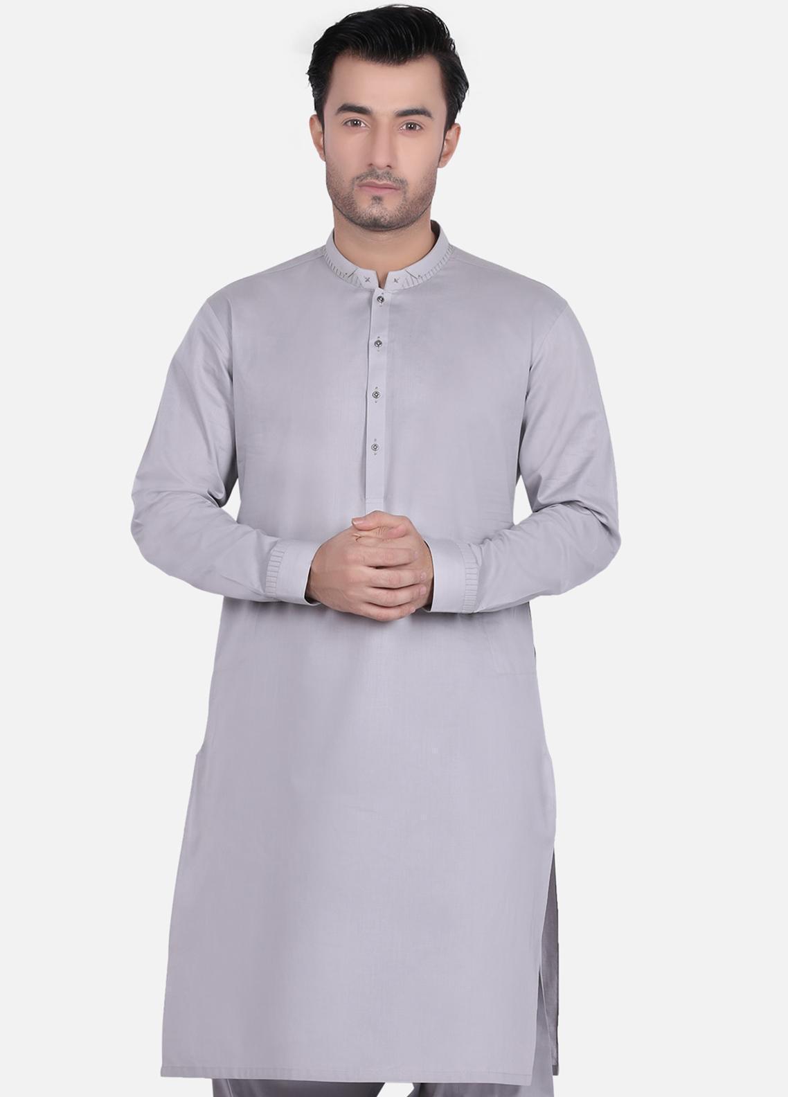 Edenrobe Wash N Wear Formal Men Kameez Shalwar - Grey EMTKS18S-40665