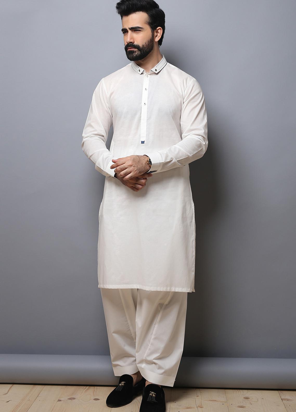 Edenrobe Wash N Wear Formal Kameez Shalwar for Men - White EMTKS19-012