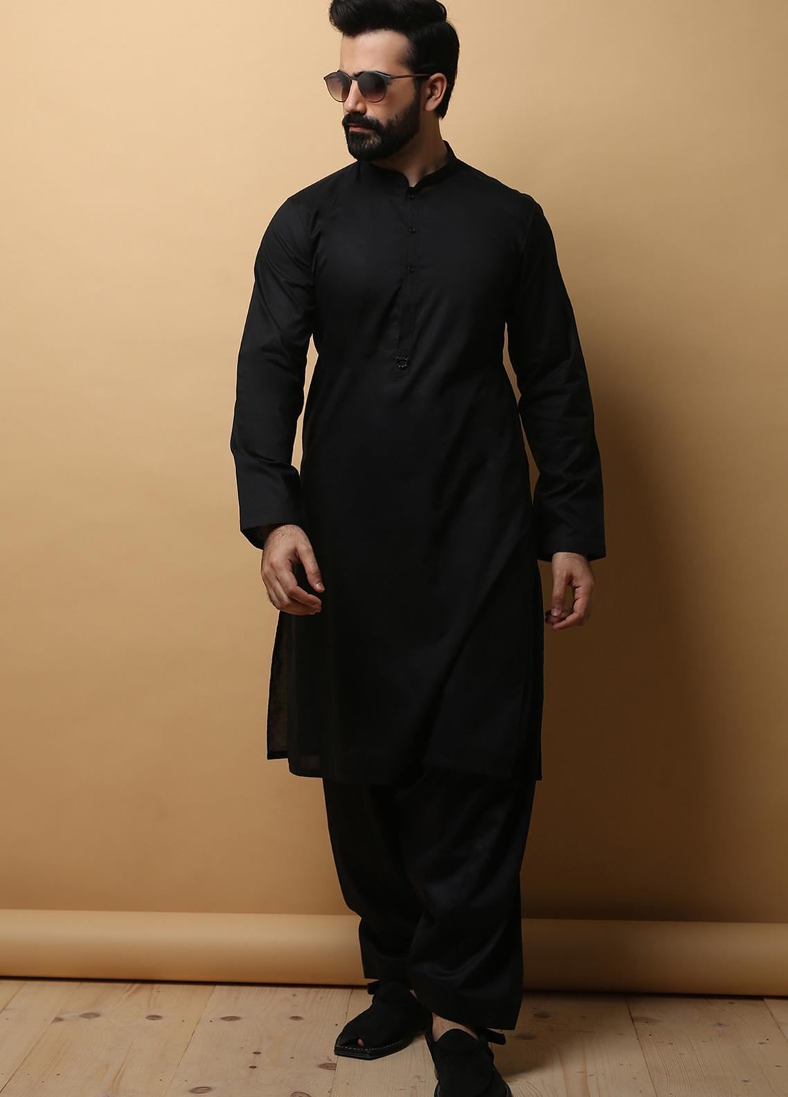 Edenrobe Wash N Wear Formal Men Kameez Shalwar - Black EMTKS19-013