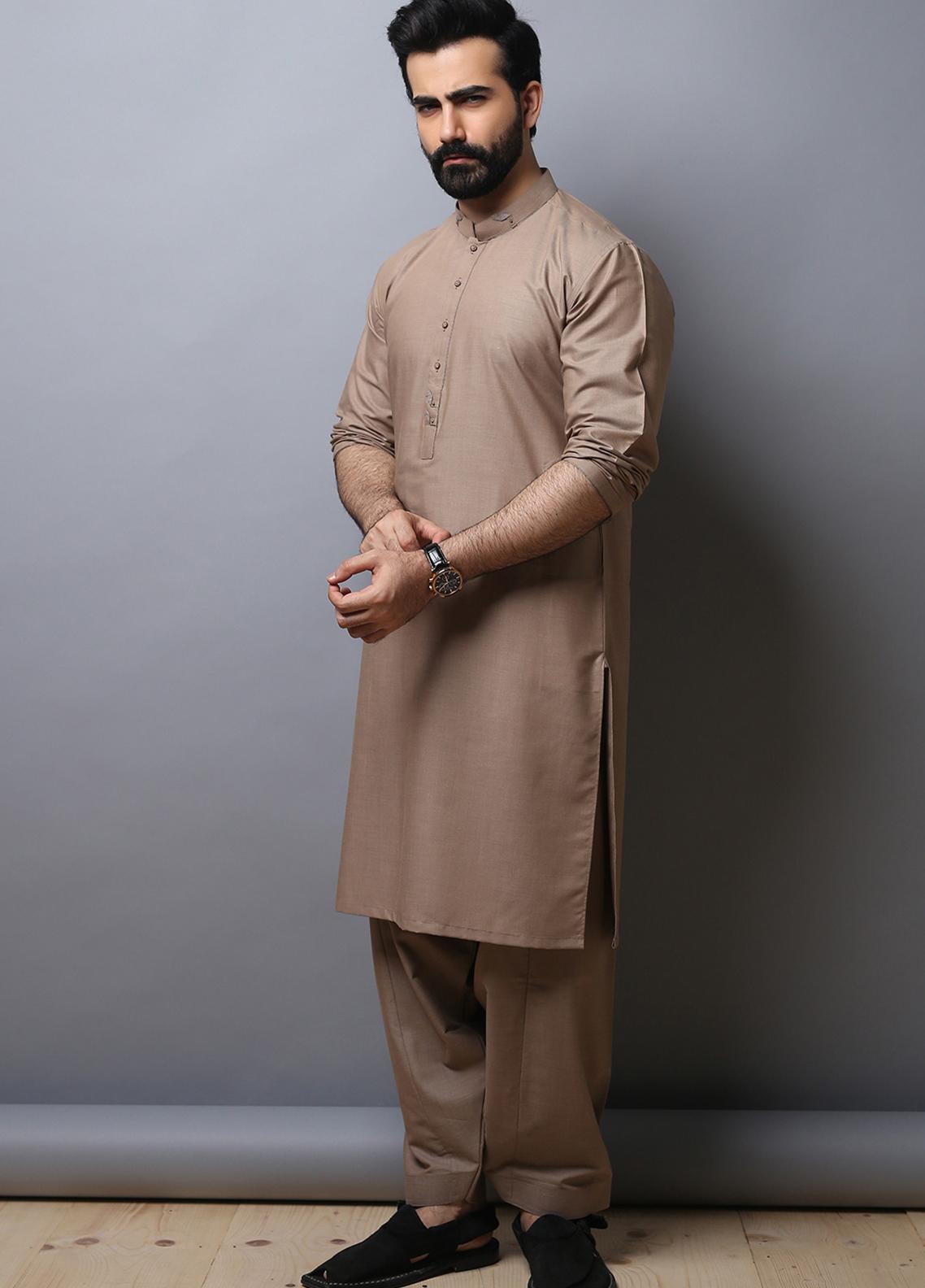 Edenrobe Wash N Wear Formal Kameez Shalwar for Men - Brown EMTKS19-014