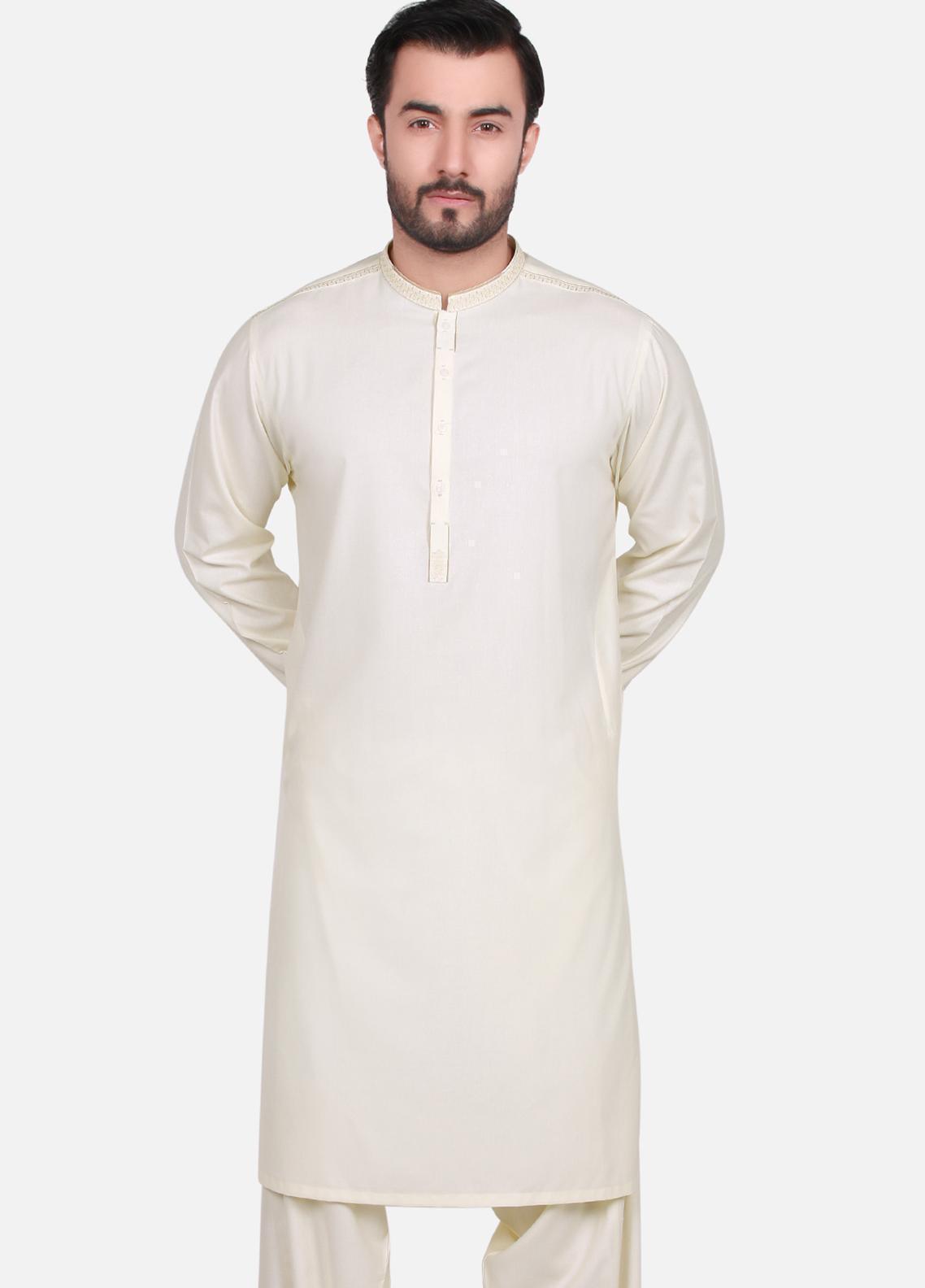 Edenrobe Wash N Wear Formal Men Kameez Shalwar - Yellow EMTKS19S-40687