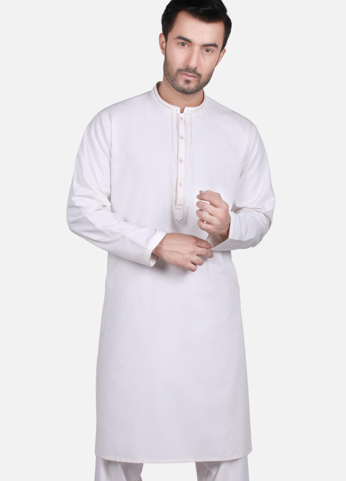Edenrobe Wash N Wear Formal Kameez Shalwar for Men - Off White EMTKS19S-40697