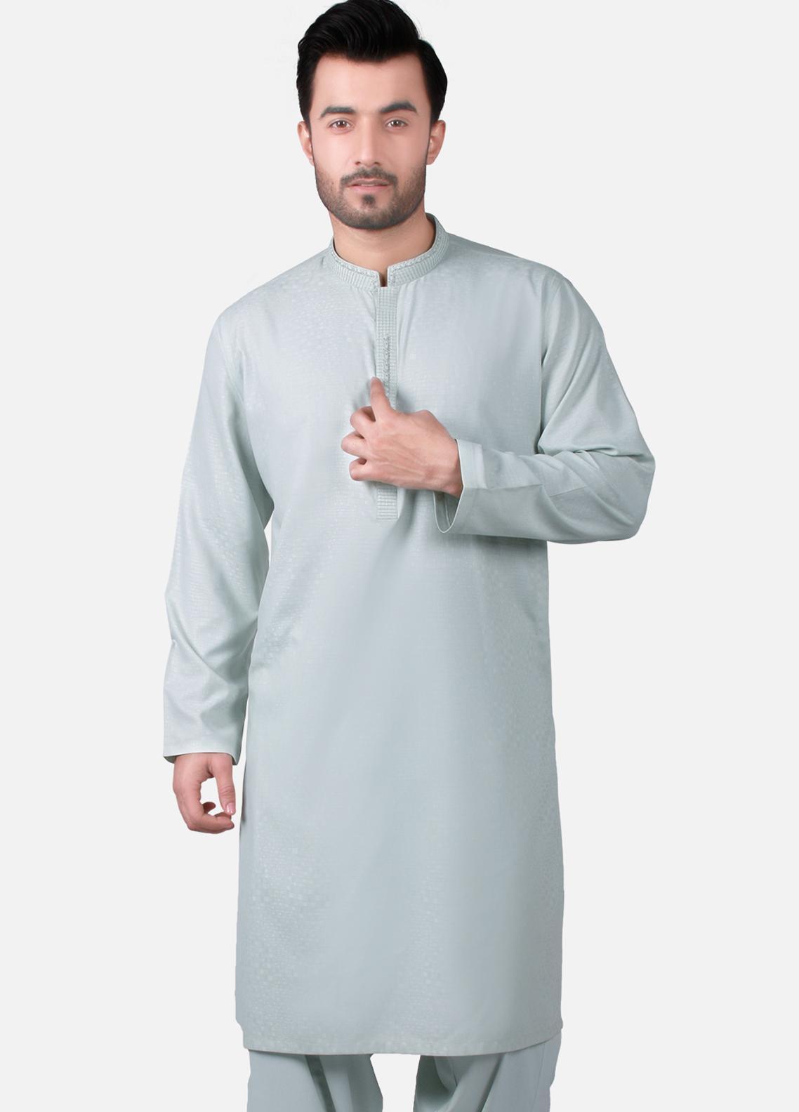 Edenrobe Wash N Wear Formal Men Kameez Shalwar - Blue EMTKS19S-40733