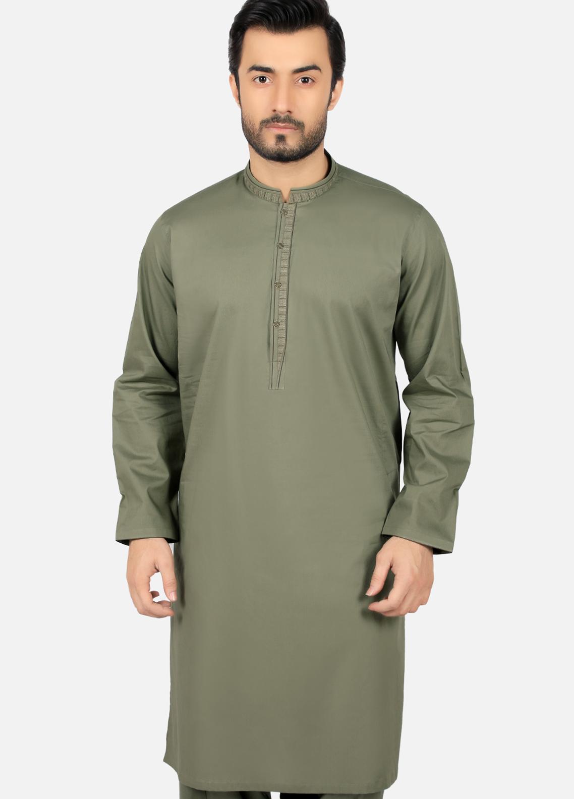 Edenrobe Wash N Wear Formal Kameez Shalwar for Men - Green EMTKS19S-40748