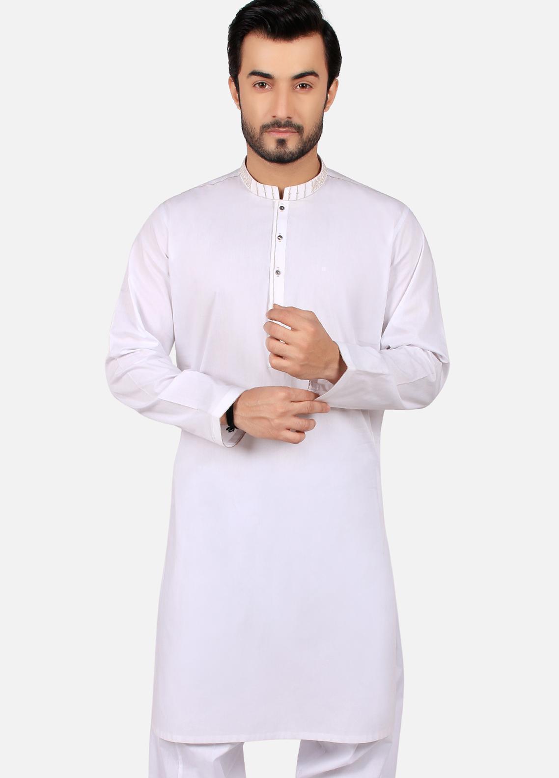 Edenrobe Wash N Wear Formal Men Kameez Shalwar - White EMTKS19S-40750