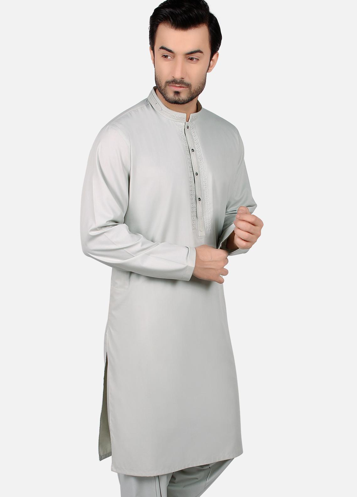 Edenrobe Wash N Wear Formal Kameez Shalwar for Men - Grey EMTKS19S-40756
