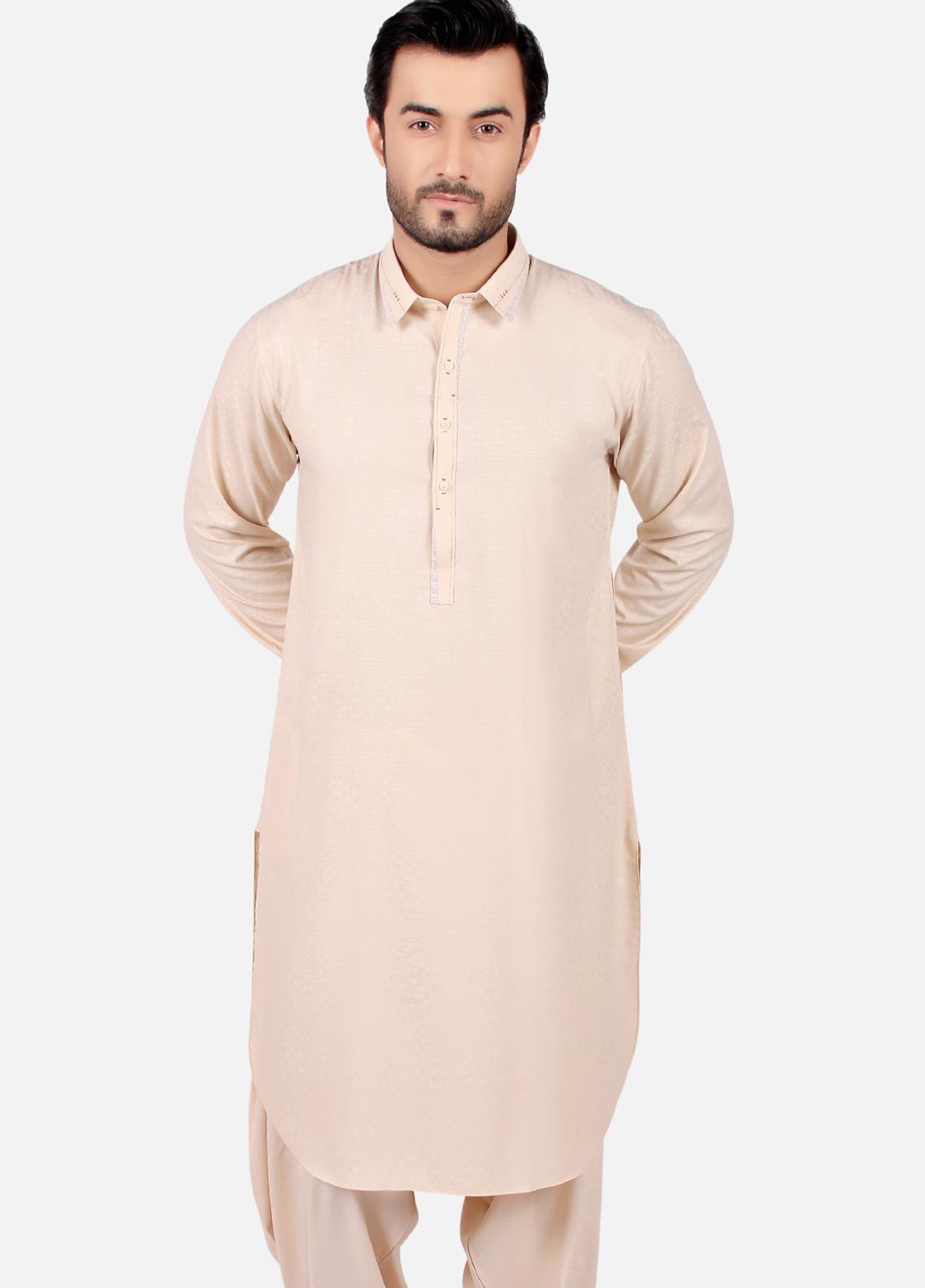 Edenrobe Wash N Wear Formal Men Kameez Shalwar - Fawn EMTSW19S-9765