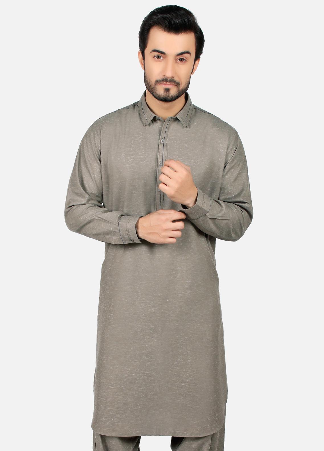 Edenrobe Wash N Wear Formal Kameez Shalwar for Men - Grey EMTSW19S-9785