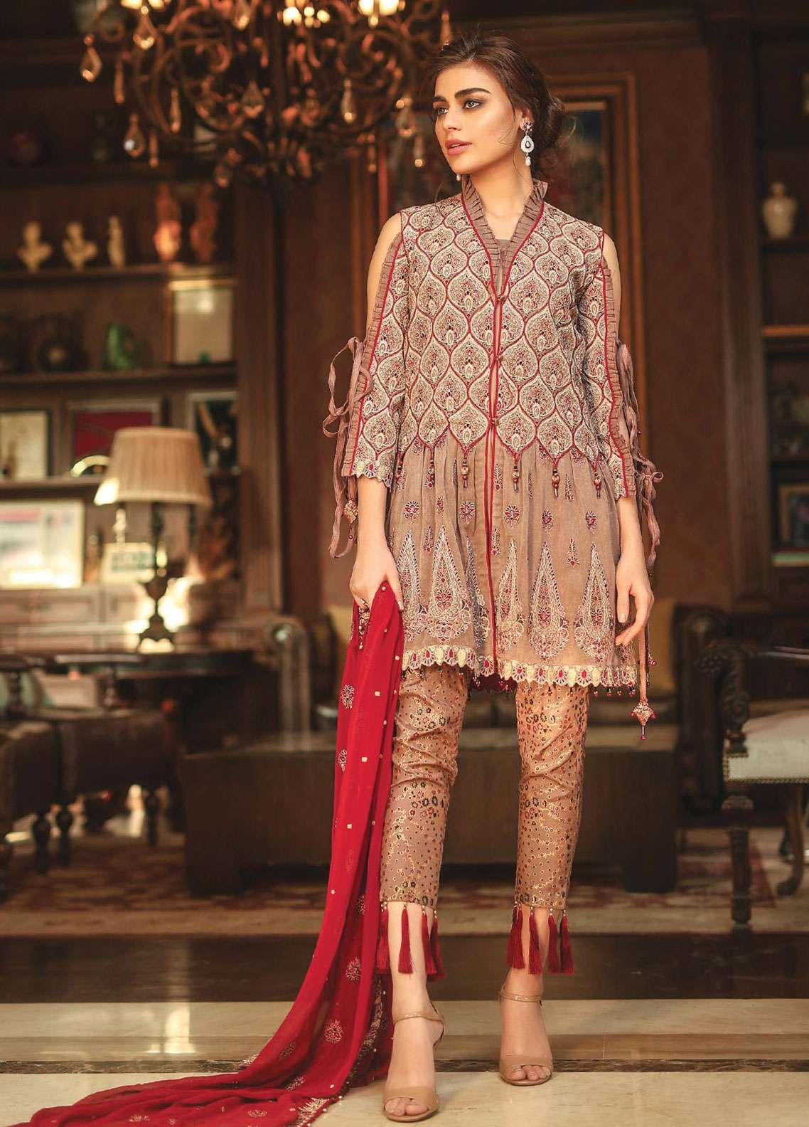 Edenrobe Embroidered Khaadi Net Unstitched 3 Piece Suit 019450 - Wedding Collection