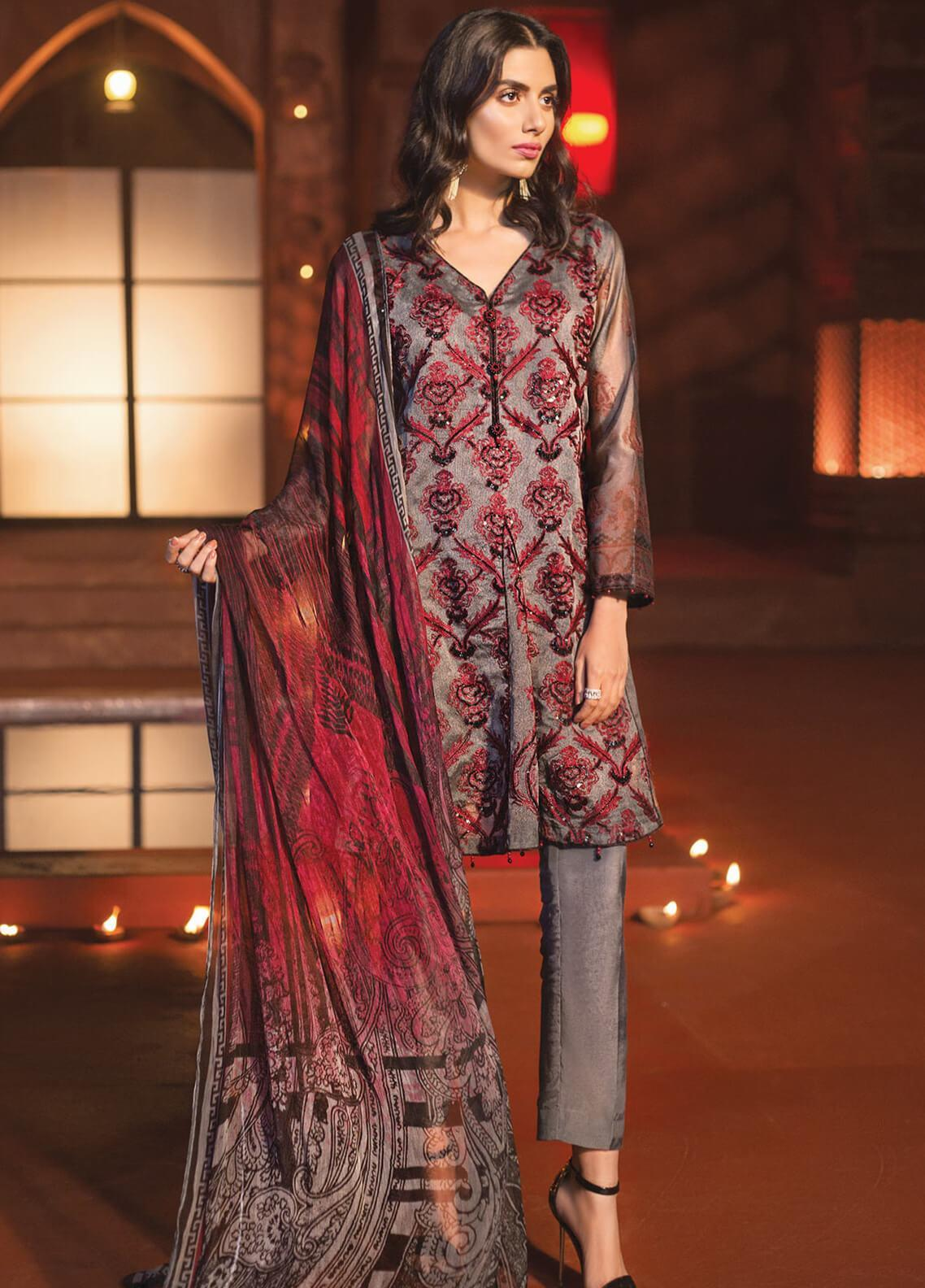Edenrobe Embroidered Khaadi Net Unstitched 3 Piece Suit 019715 - Festive Collection