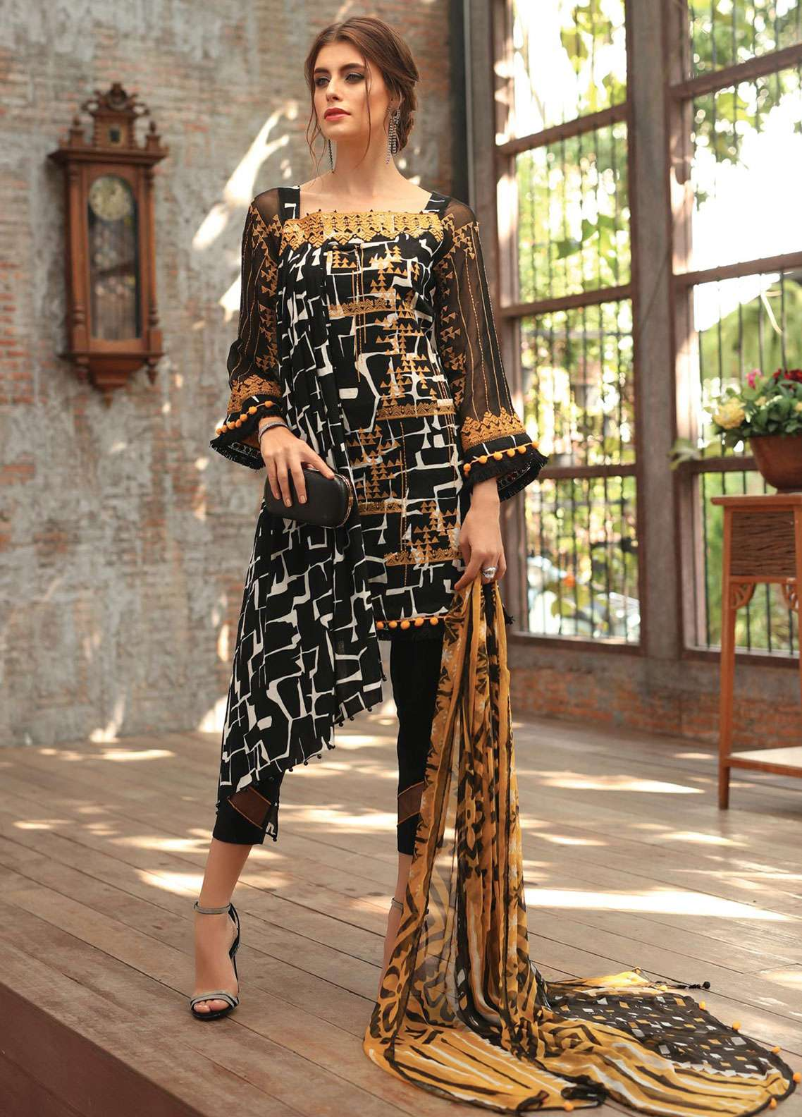 82e26ef00c Edenrobe Embroidered Lawn Unstitched 3 Piece Suit 019673 - Spring / Summer  Collection