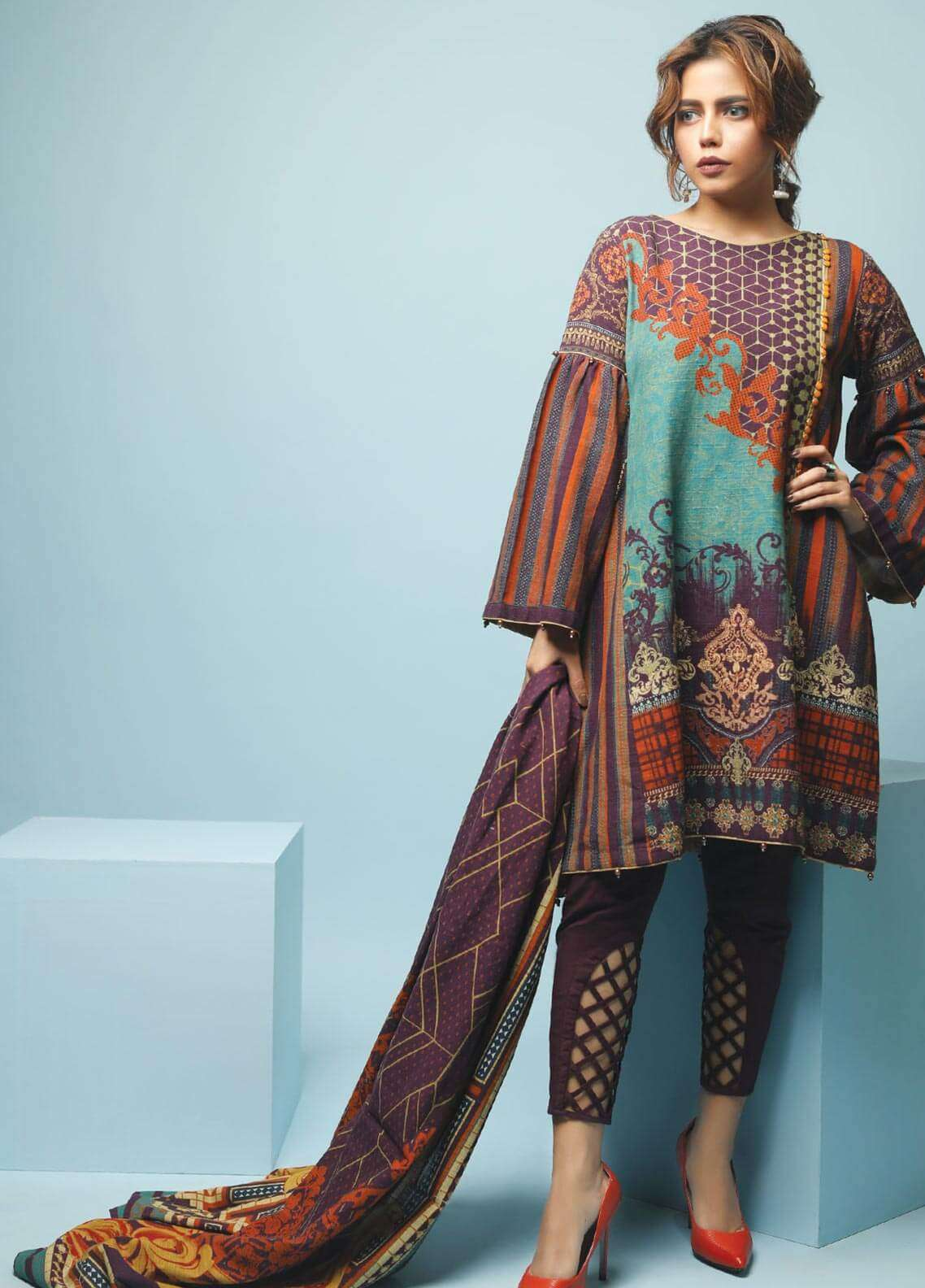 Edenrobe Printed Khaddar Unstitched 3 Piece Suit 019460 - Winter Collection