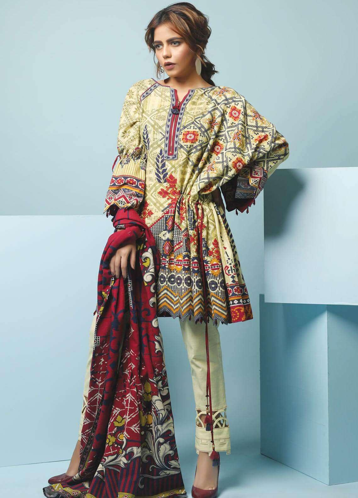 Edenrobe Printed Khaddar Unstitched 3 Piece Suit 019461 - Winter Collection