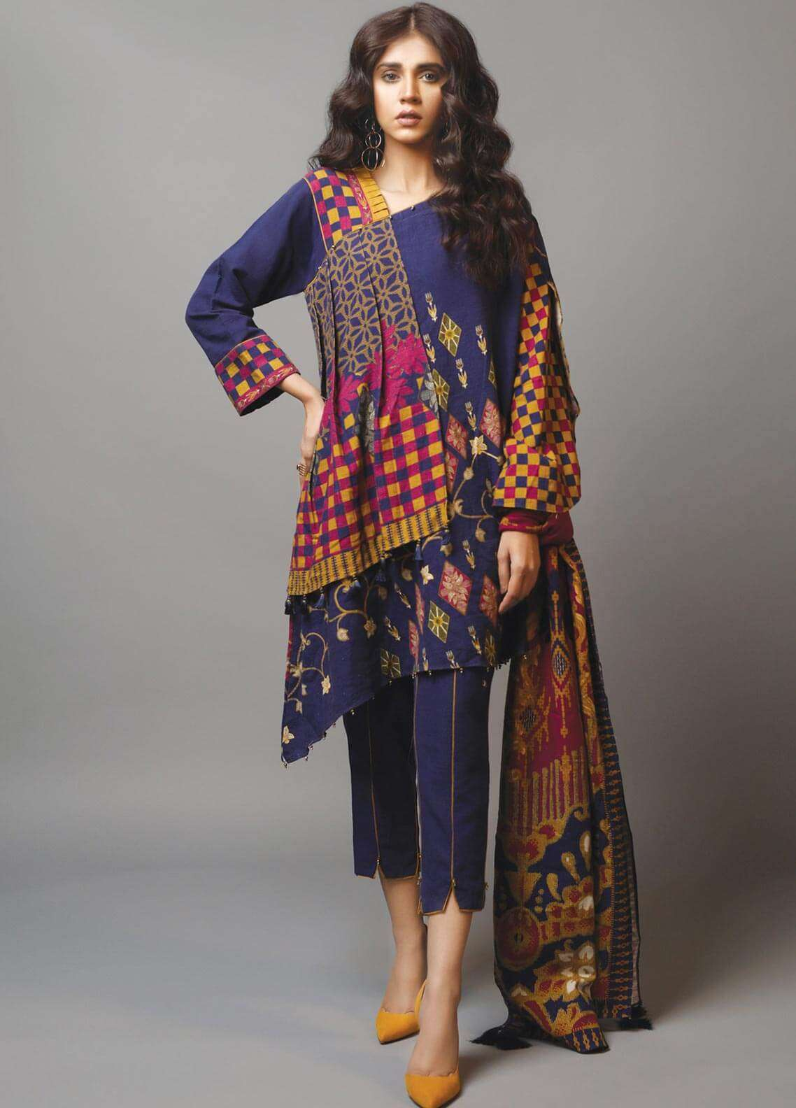Edenrobe Printed Khaddar Unstitched 3 Piece Suit 019464 - Winter Collection