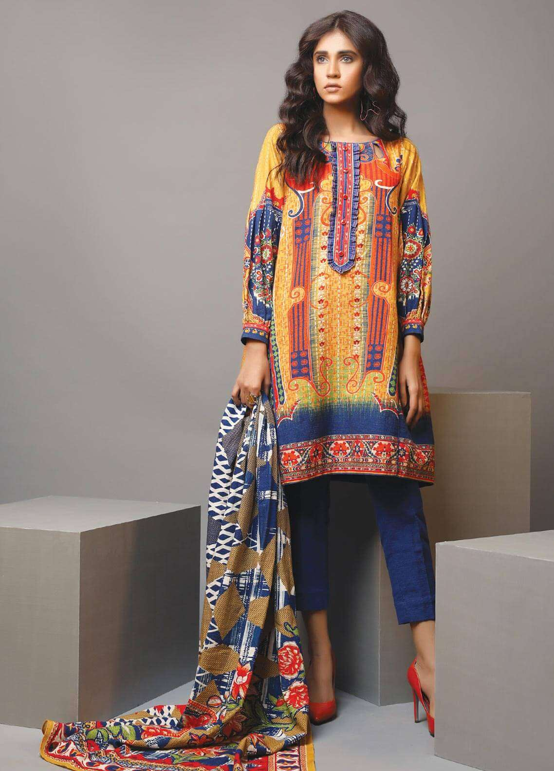 Edenrobe Printed Khaddar Unstitched 3 Piece Suit 019465 - Winter Collection