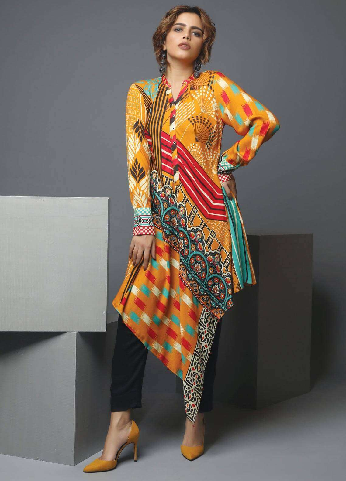 Edenrobe Printed Viscose Unstitched Kurties 019467 - Winter Collection